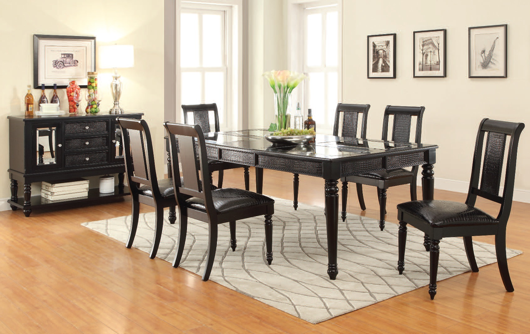 caree traditional black wood pu 7pc dining room set