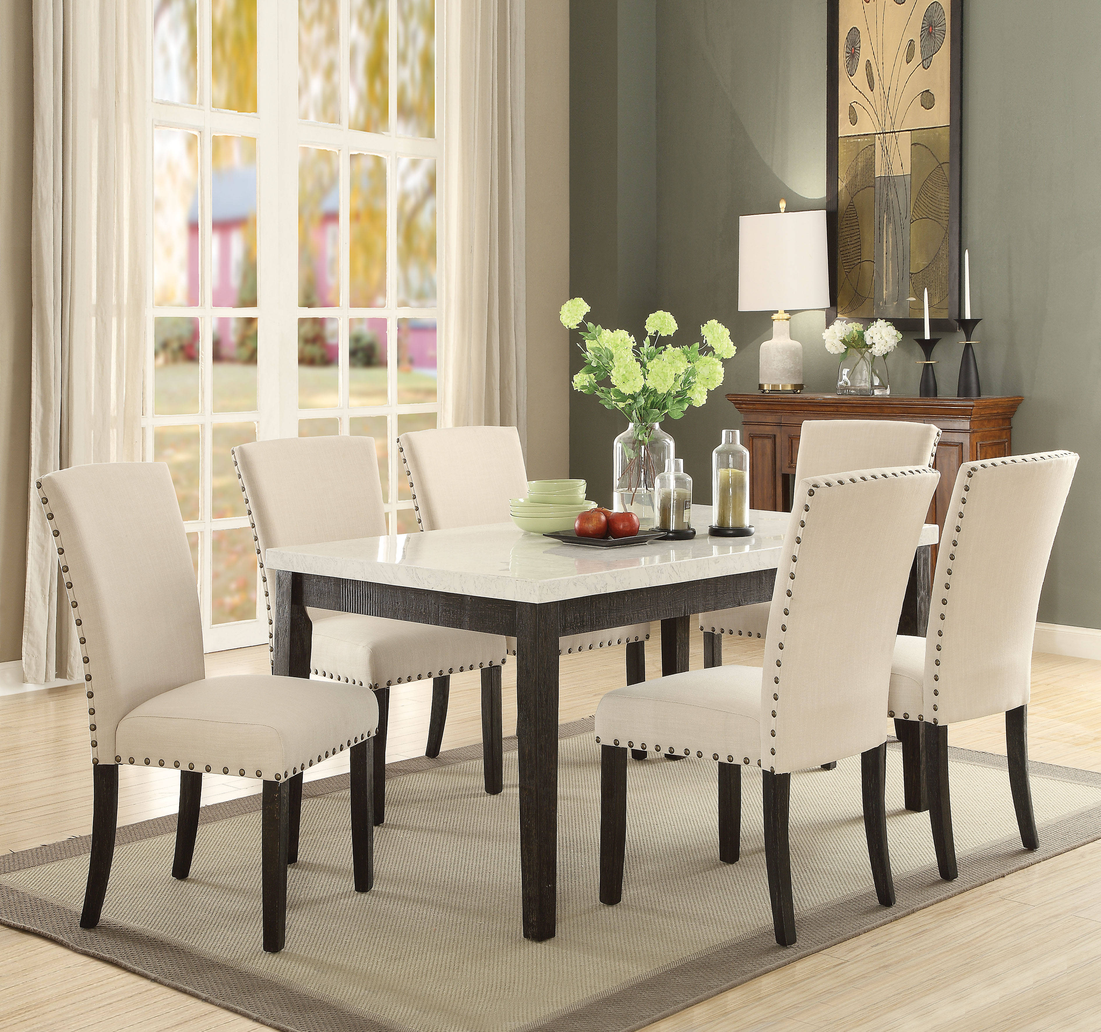 Acme Furniture Nolan 7pc Dining Room Set Click To Enlarge
