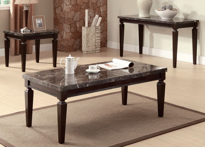 Agatha Black Marble Wood Marble Top Coffee End Table Set The Classy Home
