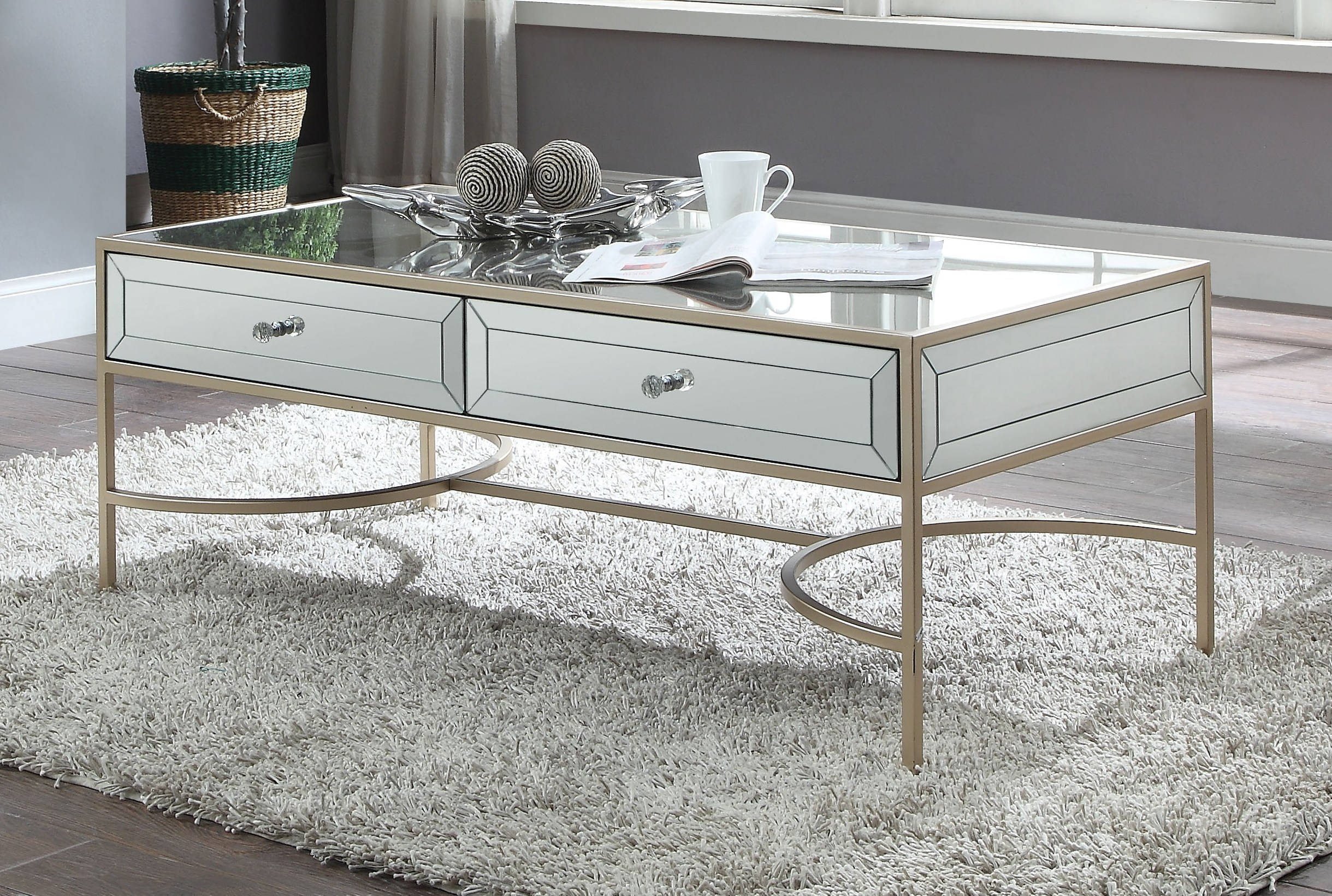 Acme Furniture Wisteria Rose Gold Coffee Table The Classy Home