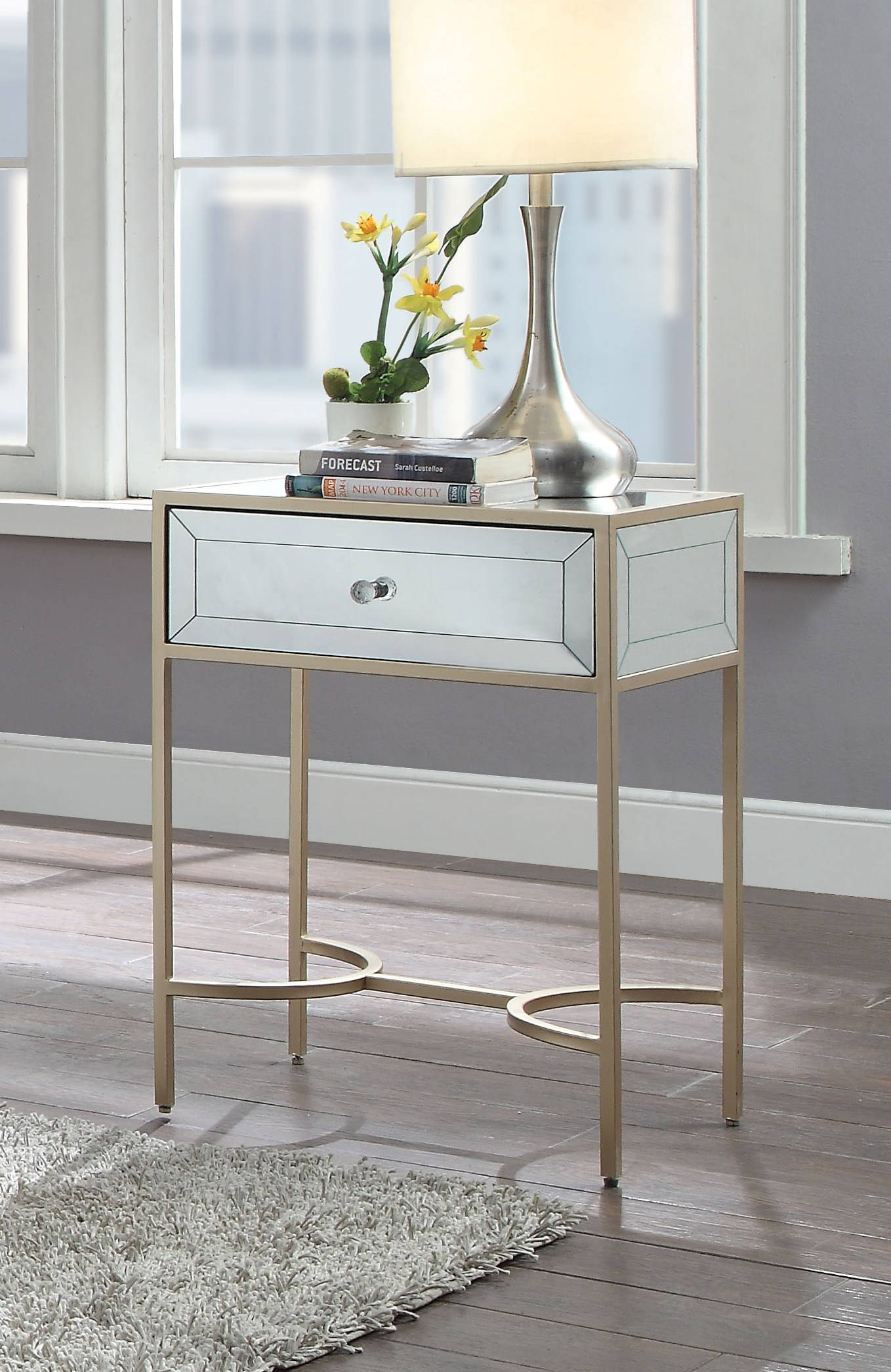 Acme Furniture Wisteria Rose Gold End Table The Classy Home