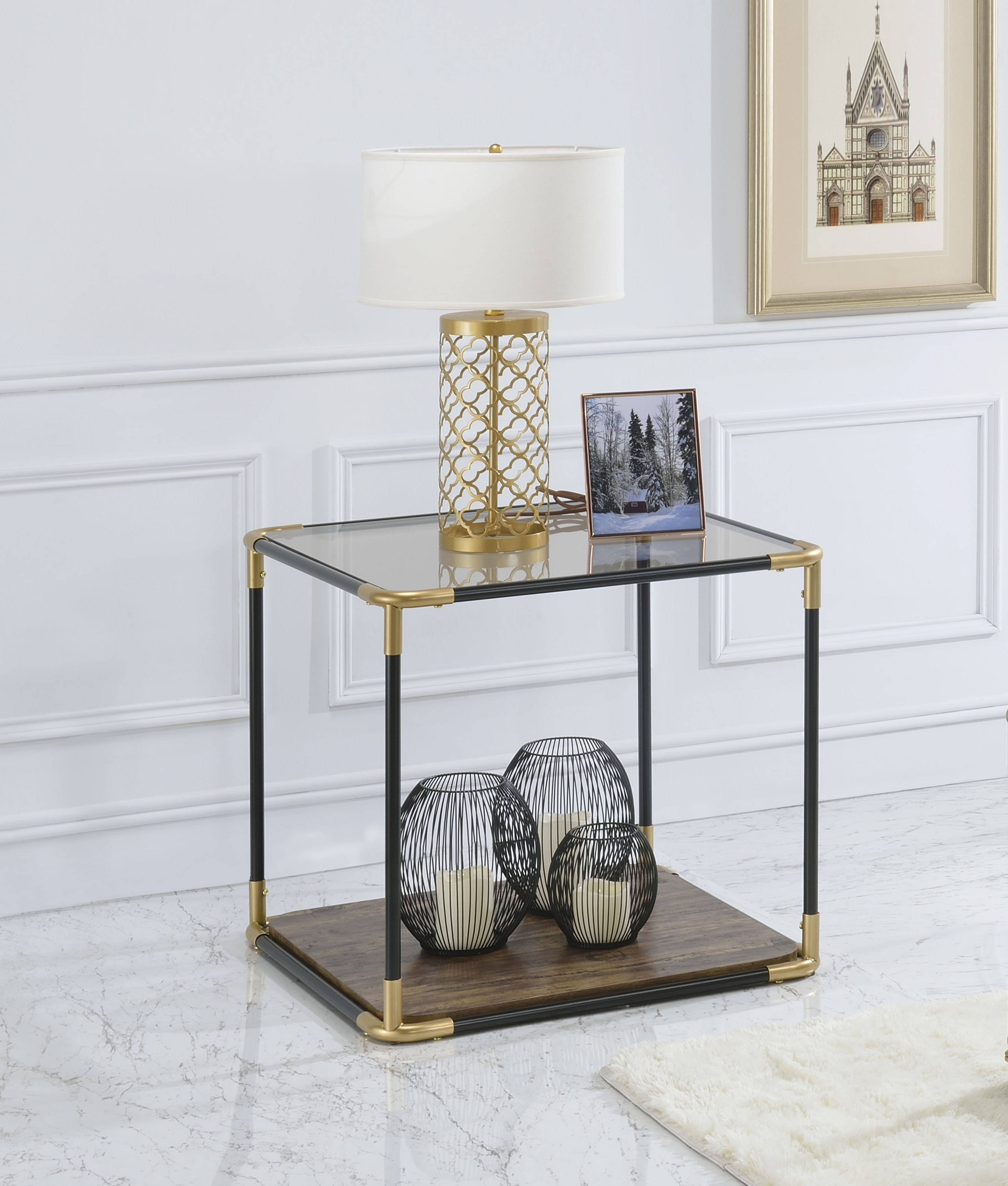 Acme Furniture Heleris Black Gold End Table Click To Enlarge