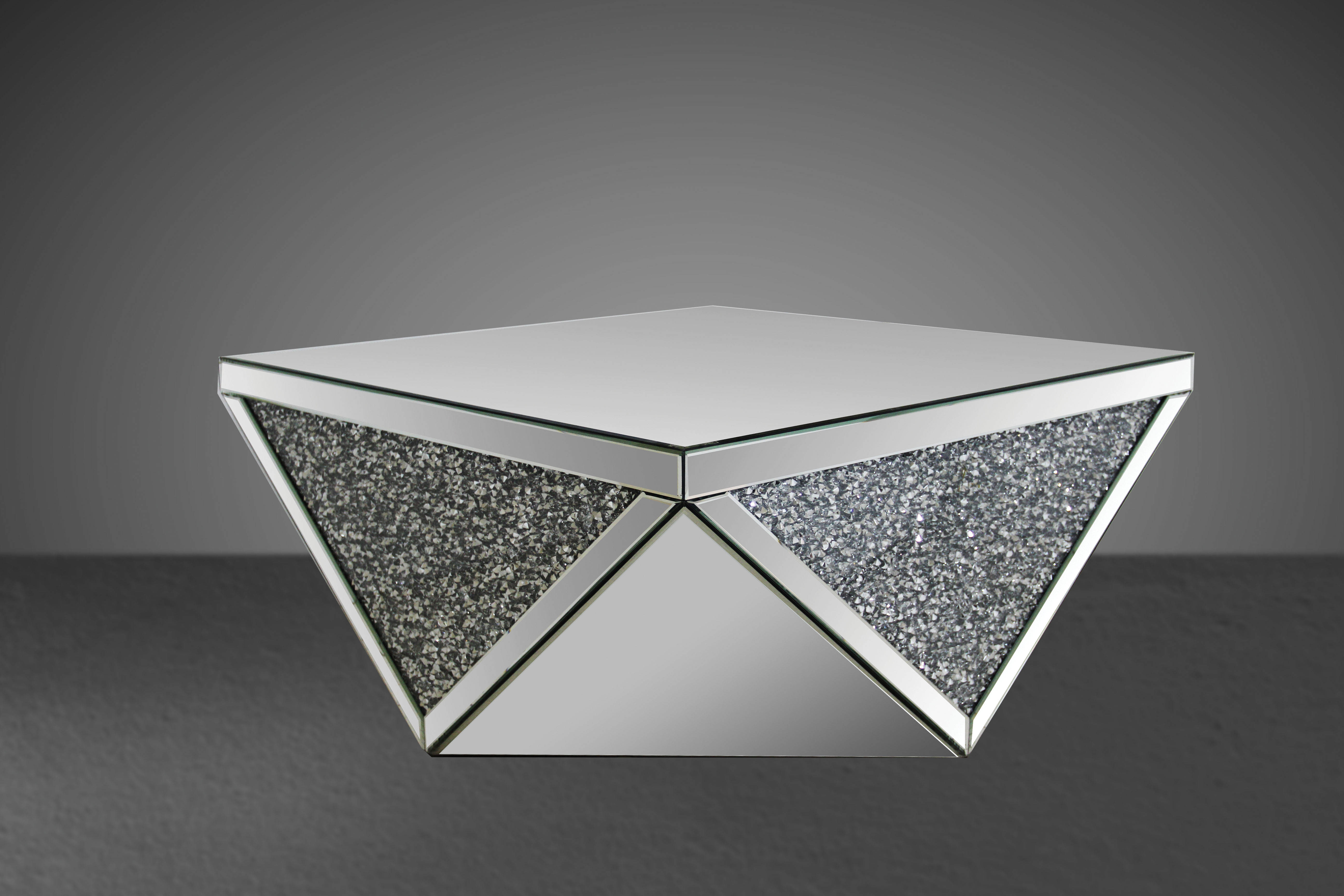 Noralie Mirrored Bevelled Square Top Triangular Base Acrylic