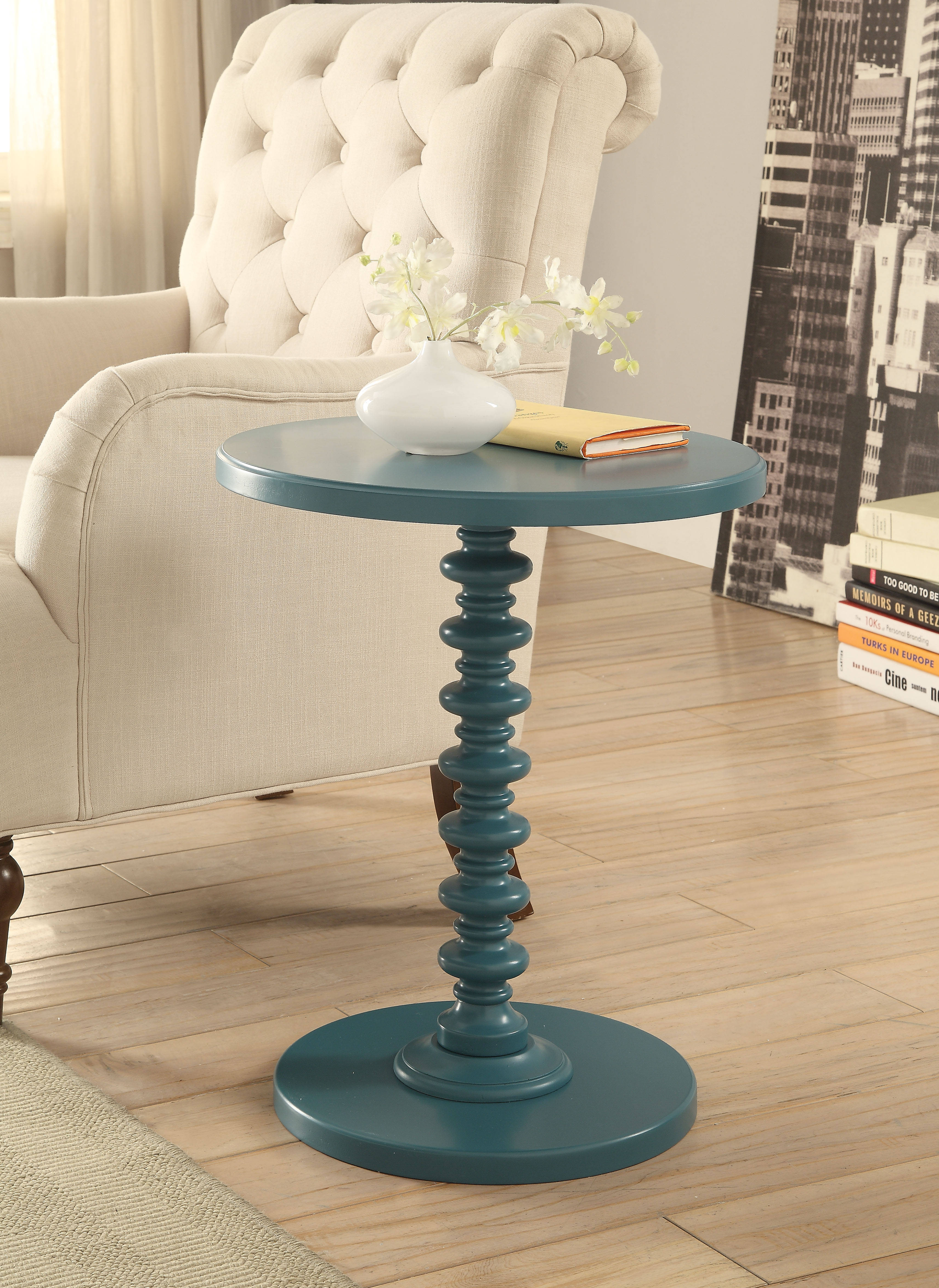 Acme Furniture Acton Teal Round Spindle Side Table The Cly Home