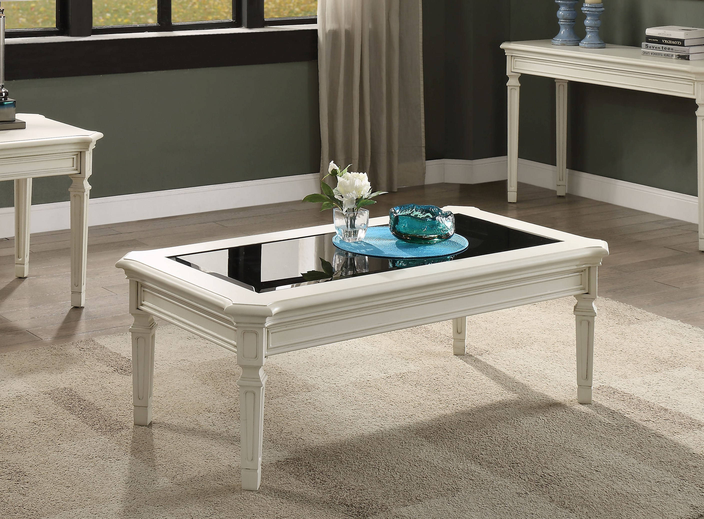 Fantastic Acme Furniture Florissa Antique White Coffee Table The Bralicious Painted Fabric Chair Ideas Braliciousco