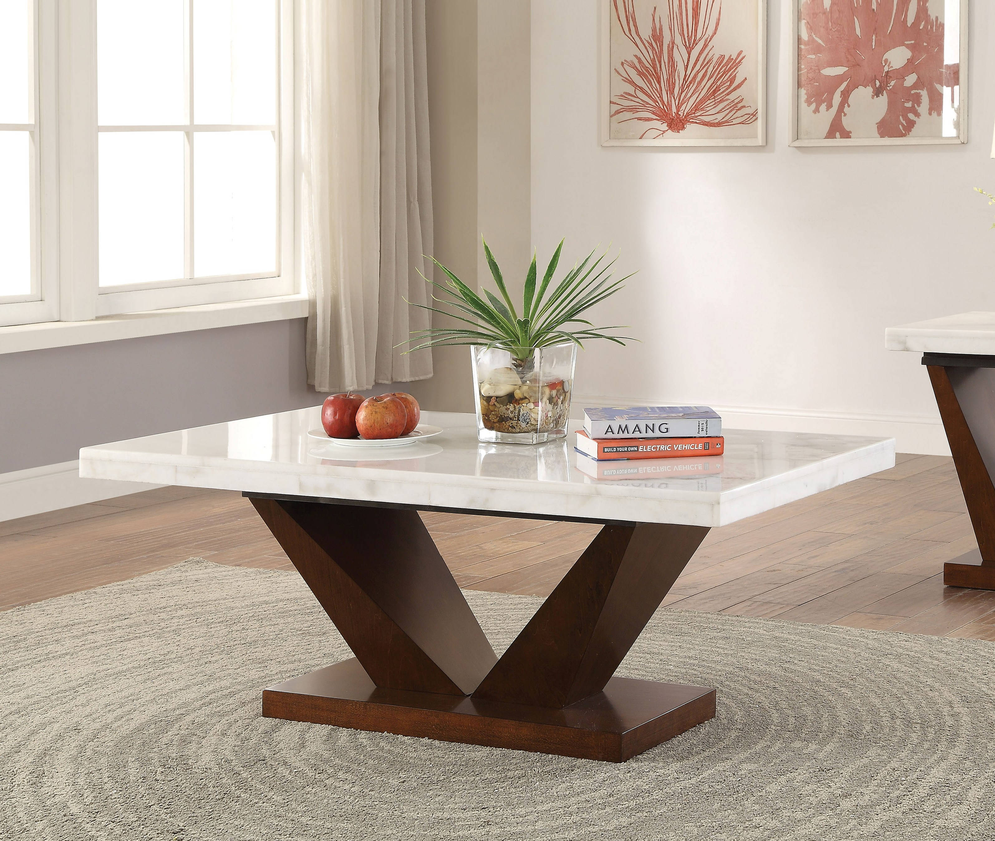 Forbes White Marble Top Walnut Wooden V Base Coffee Table