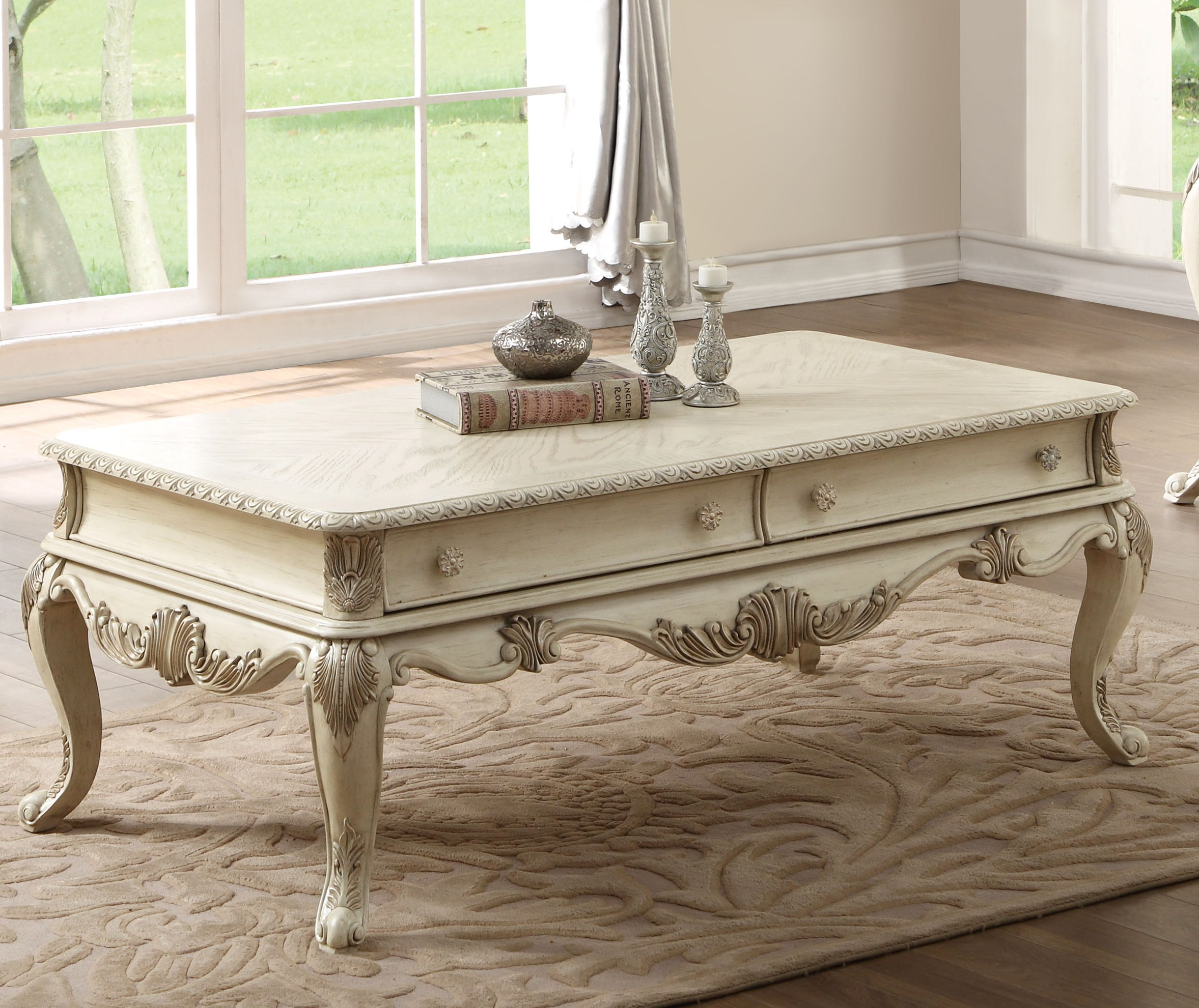 Acme Furniture Ragenardus Antique White Coffee Table Click To Enlarge