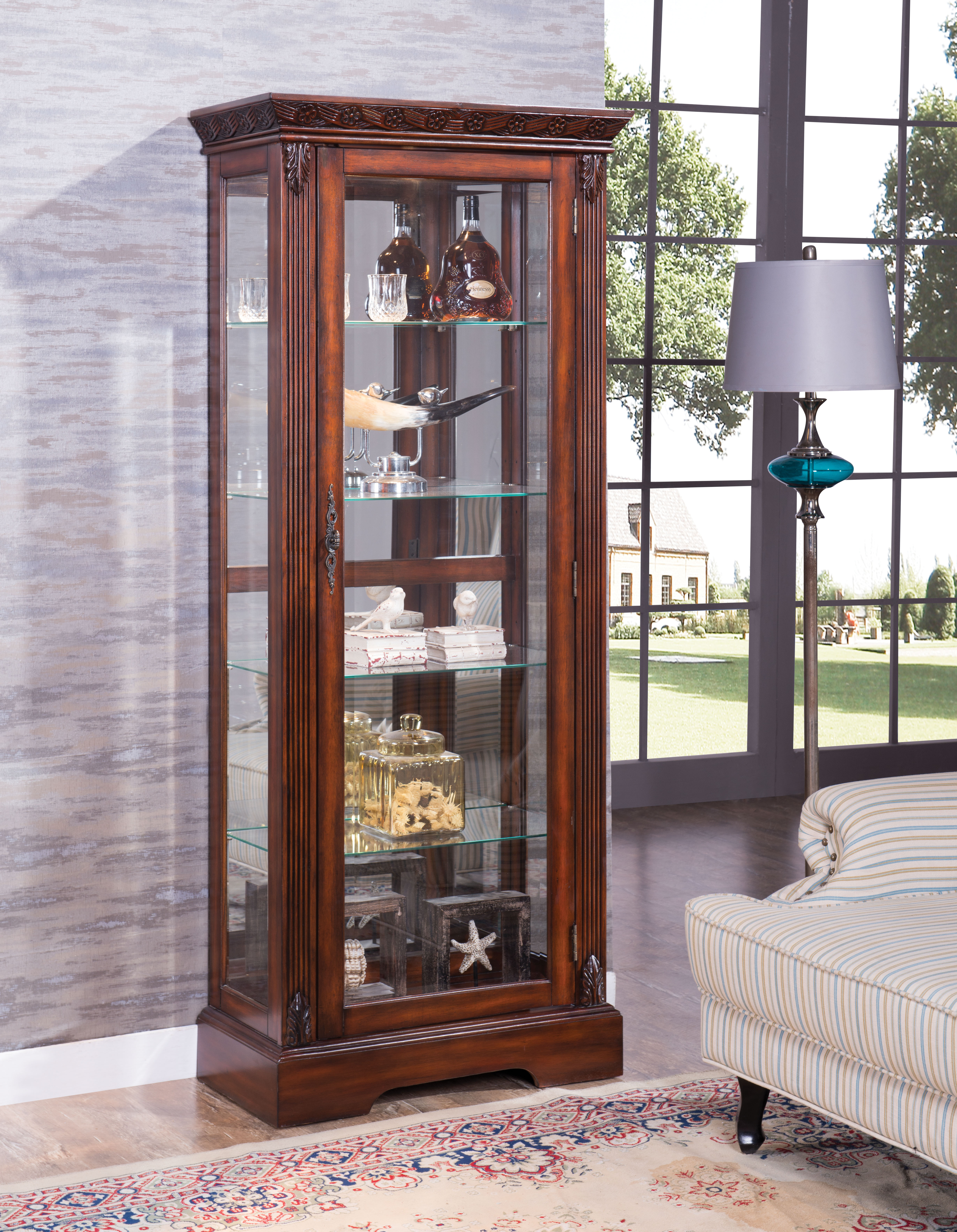 Acme Furniture Addy Cherry Curio Cabinet With Light