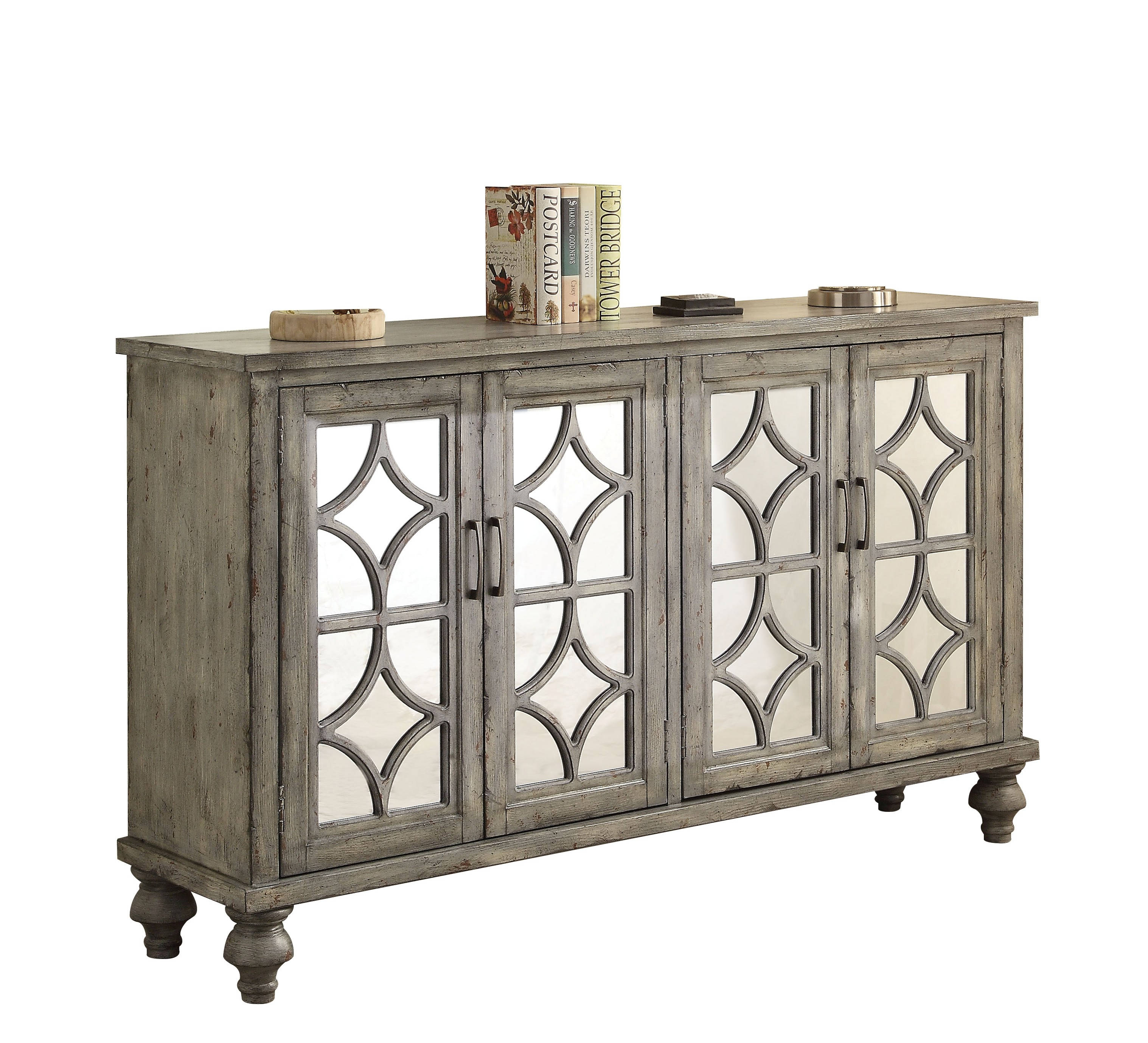 Strange Acme Furniture Velika Weathered Gray Doors Console Table Home Interior And Landscaping Mentranervesignezvosmurscom