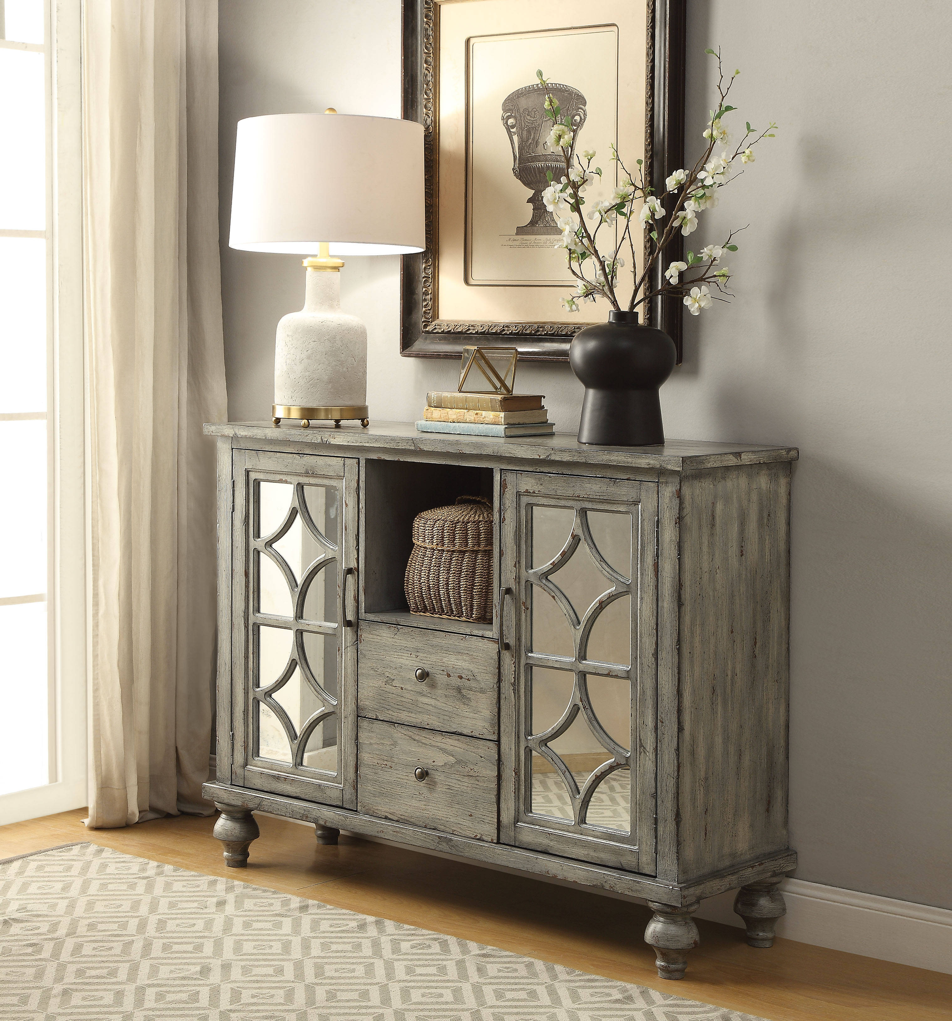 Velika weathered gray rubberwood mdf 2 doors console table velika weathered gray rubberwood mdf 2 doors console table click to enlarge loading geotapseo Choice Image