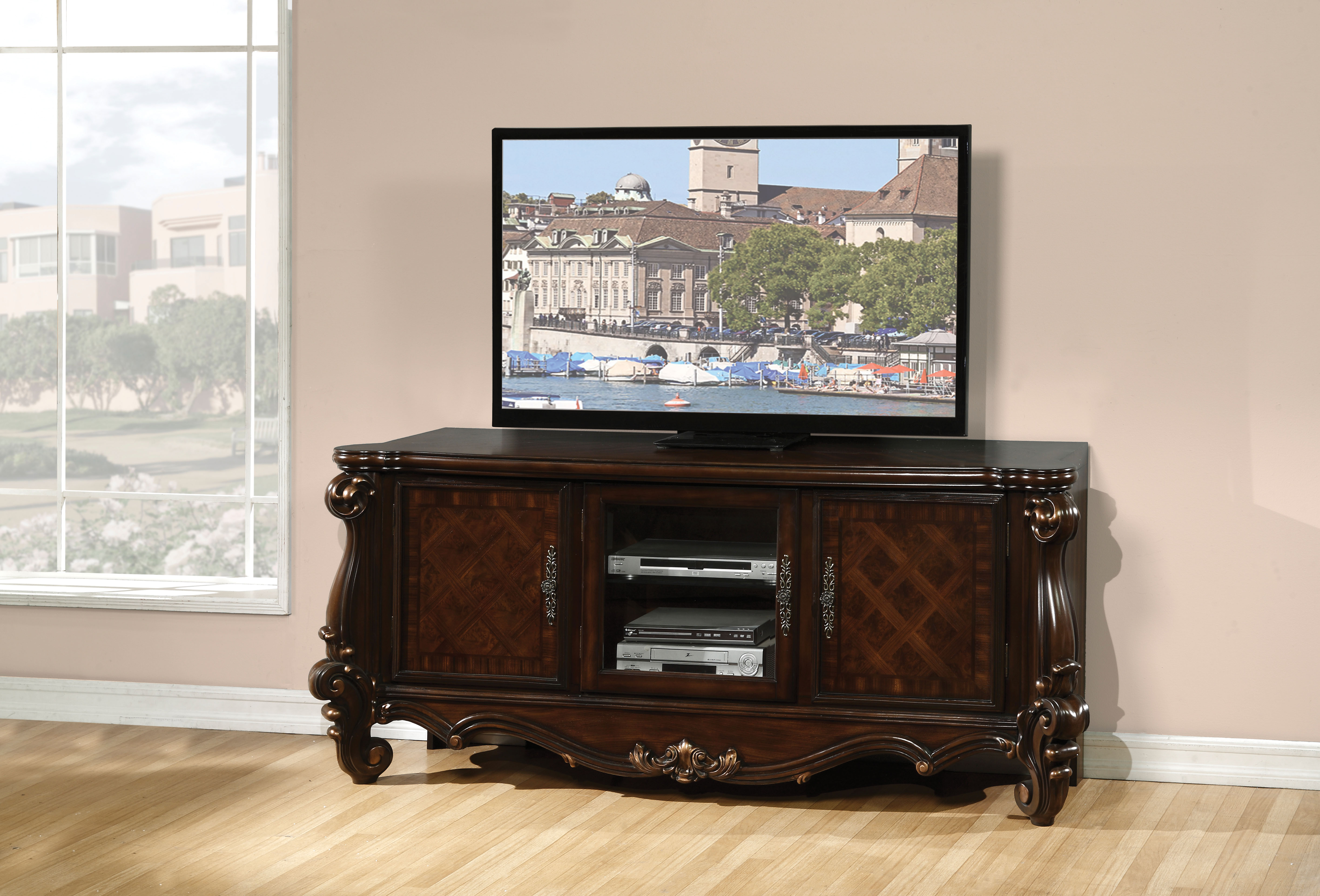 Acme Furniture Versailles Cherry Oak Tv Console Click To Enlarge