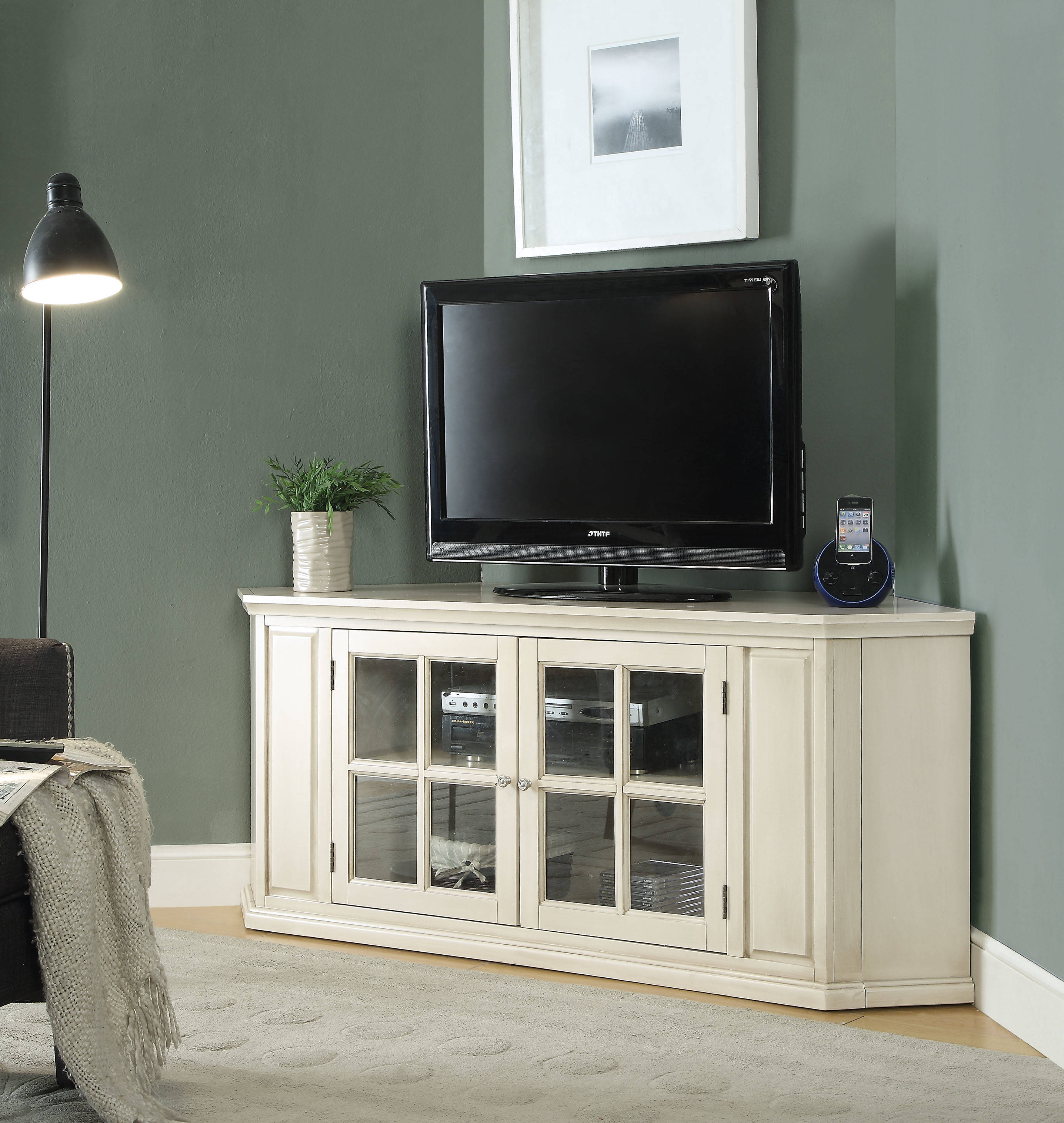White Corner Tv Stand Click To Enlarge
