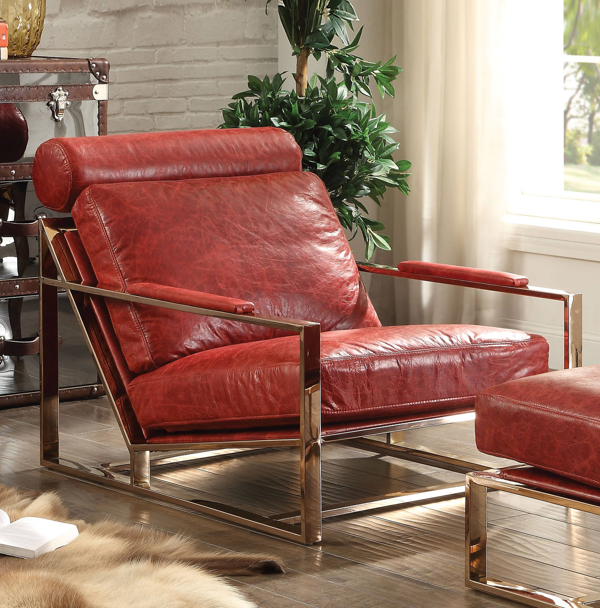 Quinto Antique Red Top Grain Leather Stainless Steel Accent Chair
