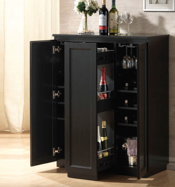 Black Home Bar Furniture: Ioanis Black Wood Bar Cabinet