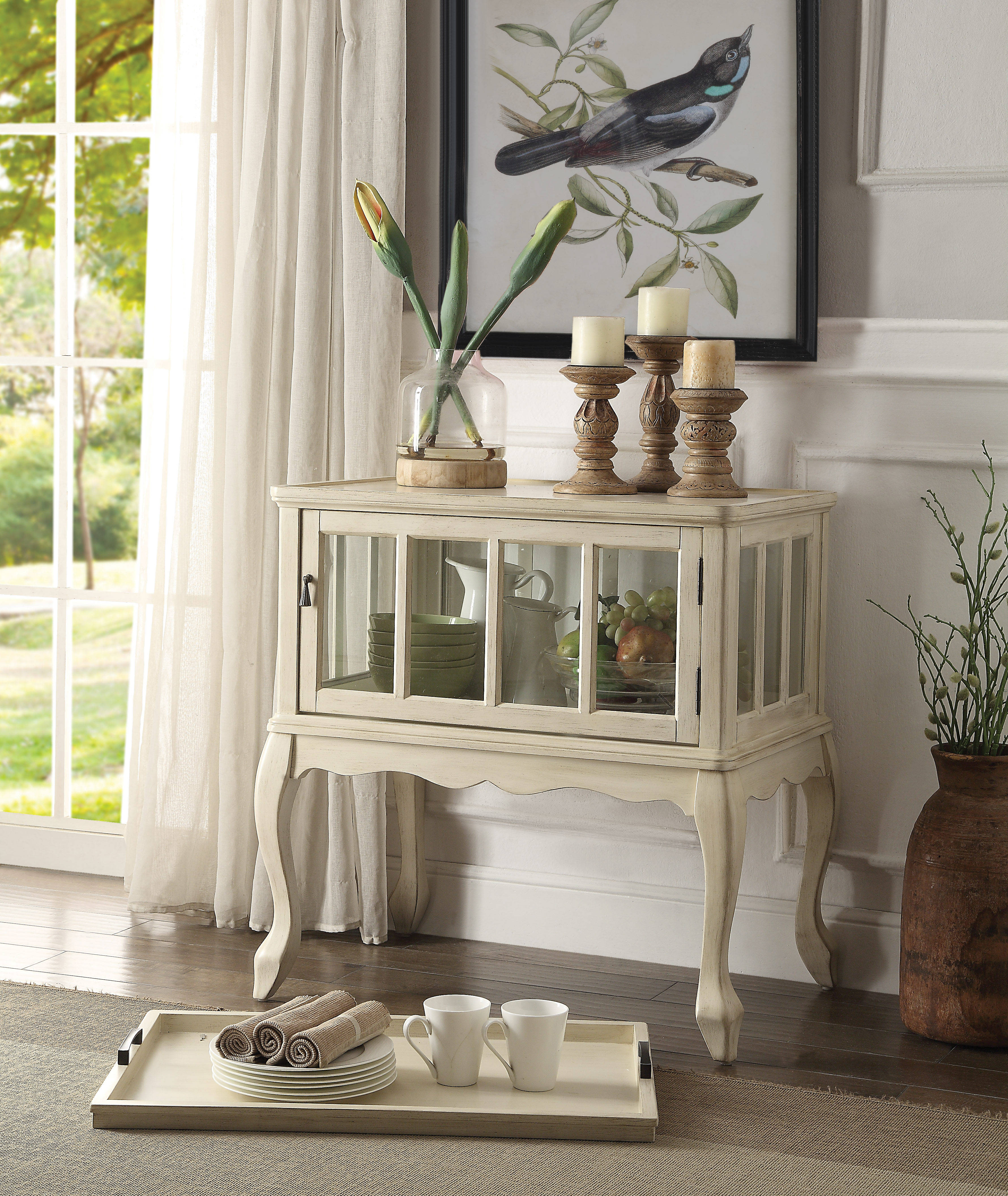 Astonishing Acme Furniture Fidelia Antique White Console Table And Tray Home Interior And Landscaping Fragforummapetitesourisinfo
