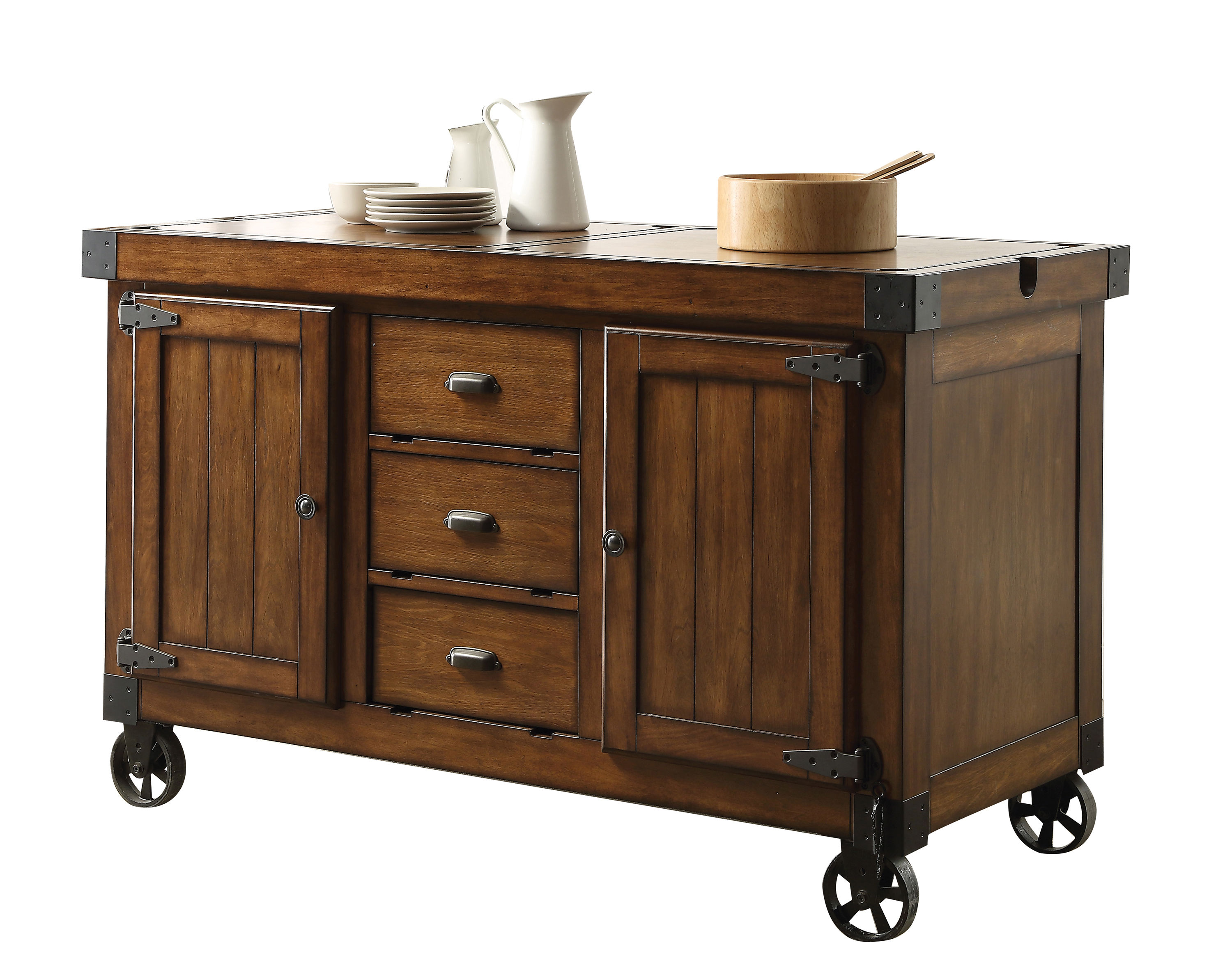 Acme Furniture Kabili Antique Tobacco Kitchen Cart