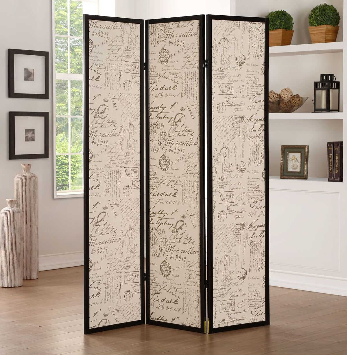 Acme Furniture Zita Black Three Panel Screen Room Divider The