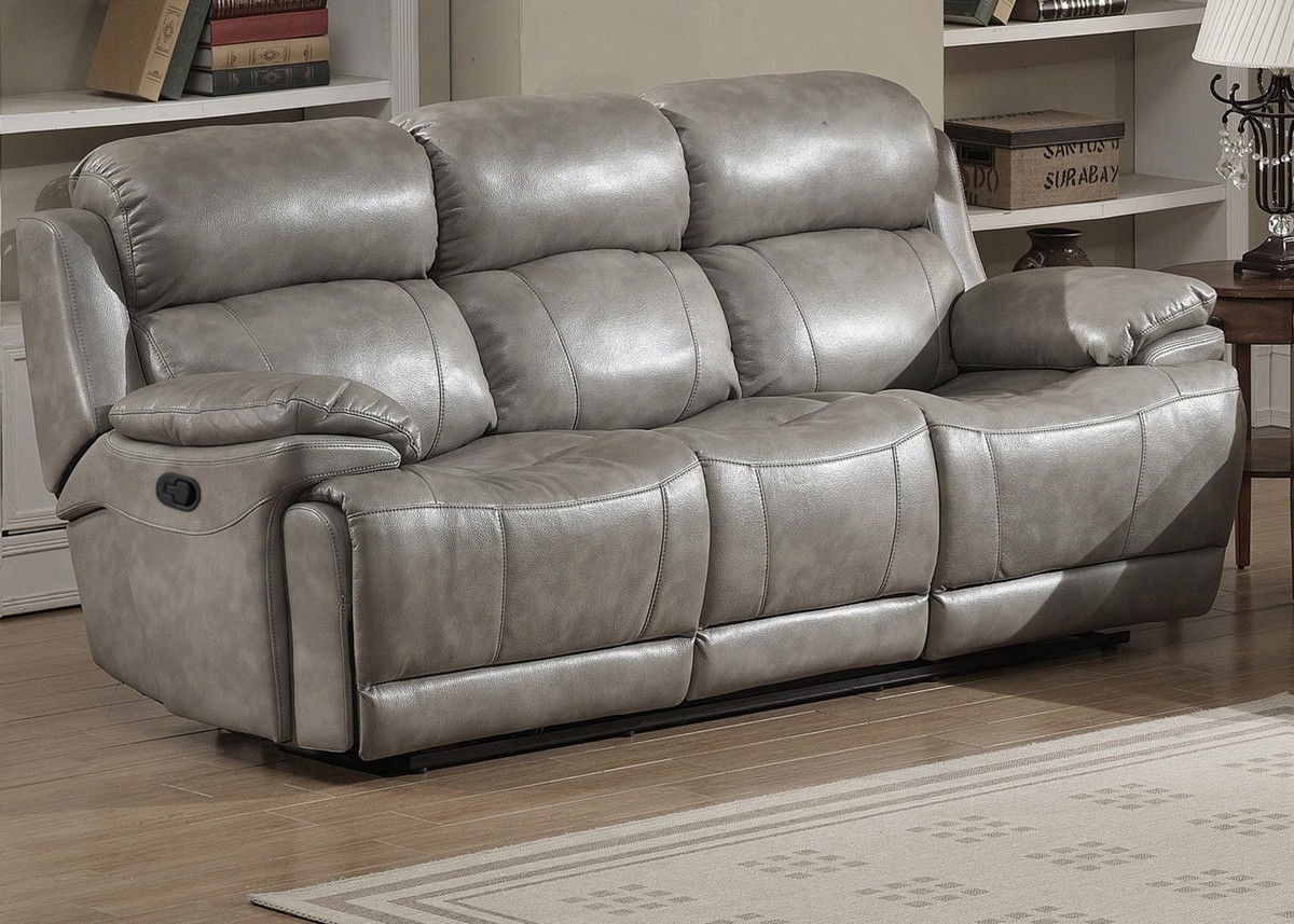 AC Pacific Estella Gray Dual Recliner Sofa