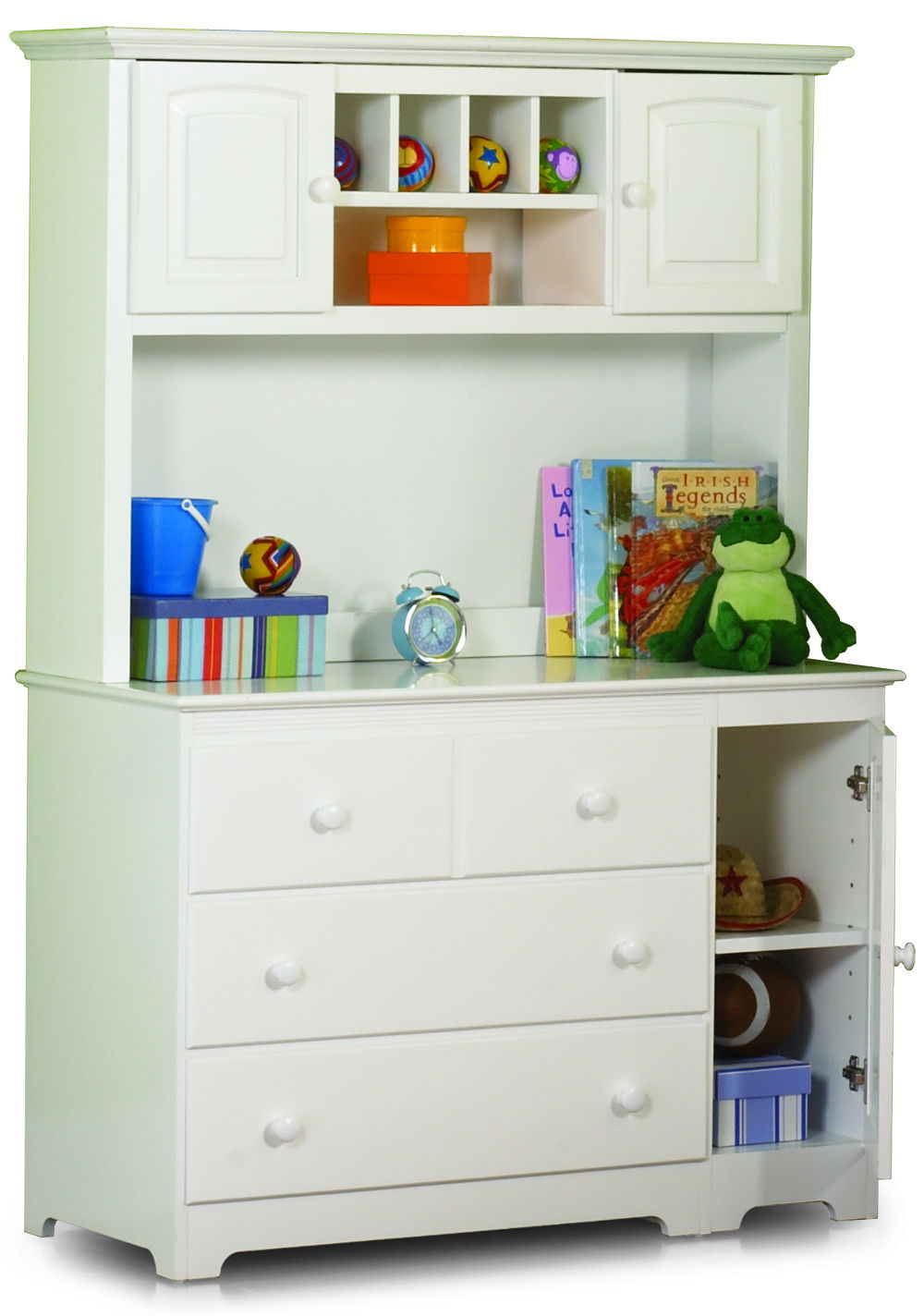 Windsor White Changing Table Hutch W 3 Doors 3 Drawers