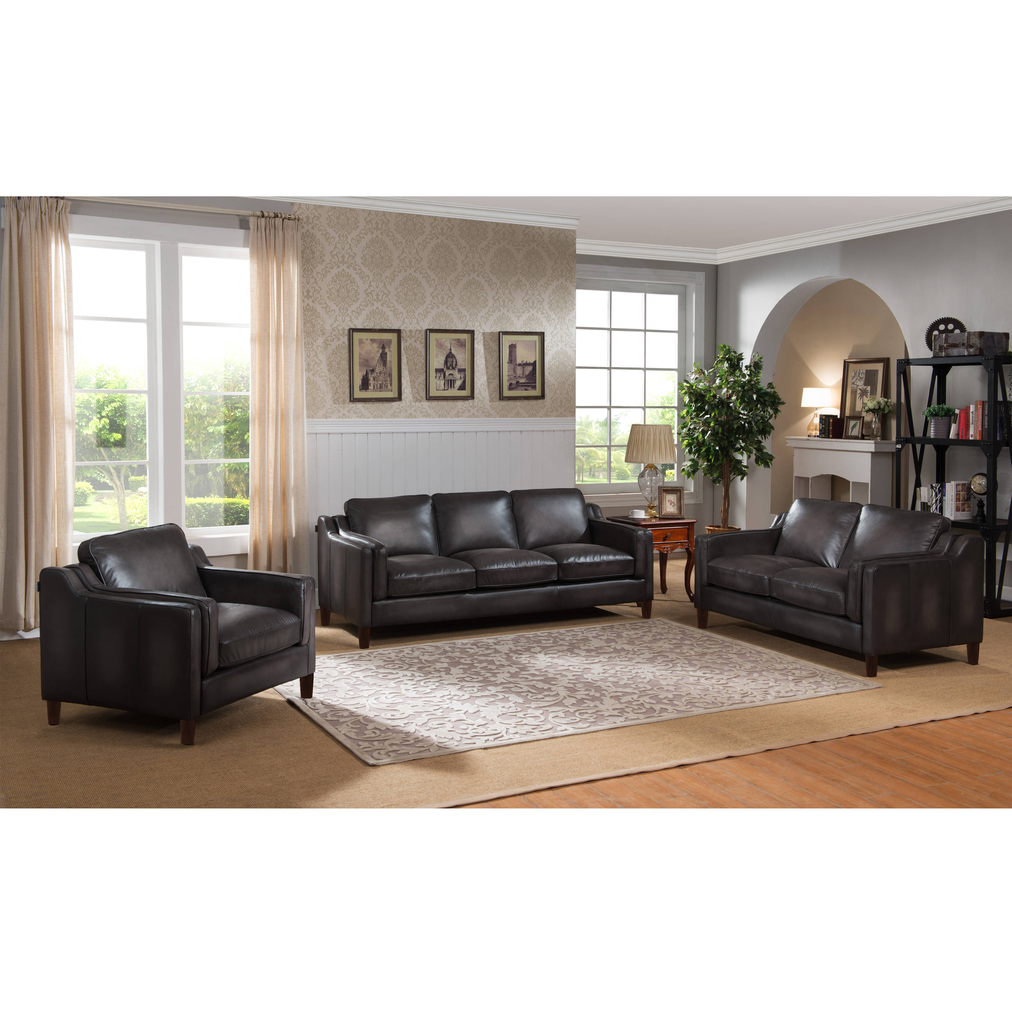 Amax leather ballari weathered grey 3pc living room set the classy home
