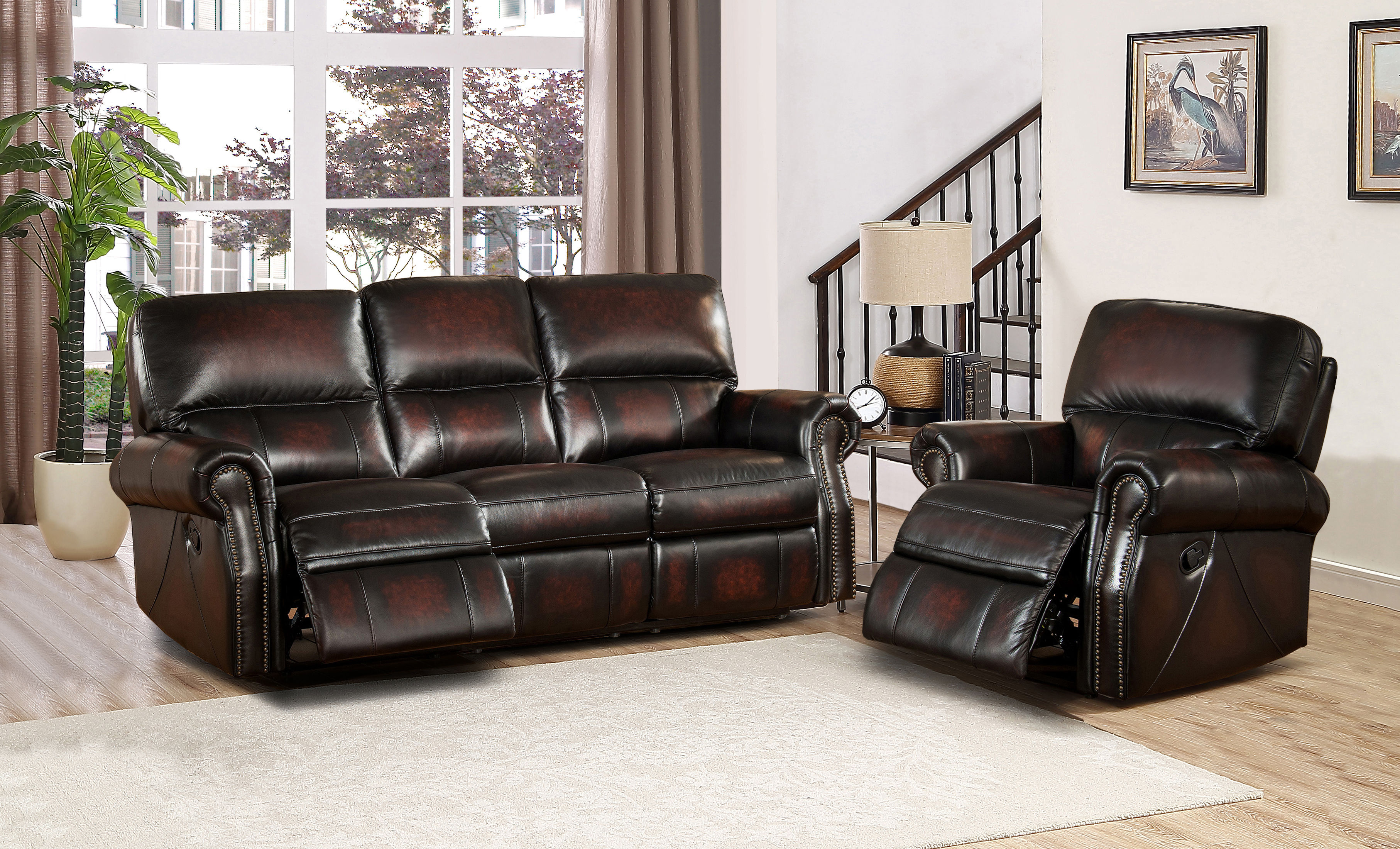 Hydeline Brooklyn Burgundy Brown Reclining Sofa and Recliner ...