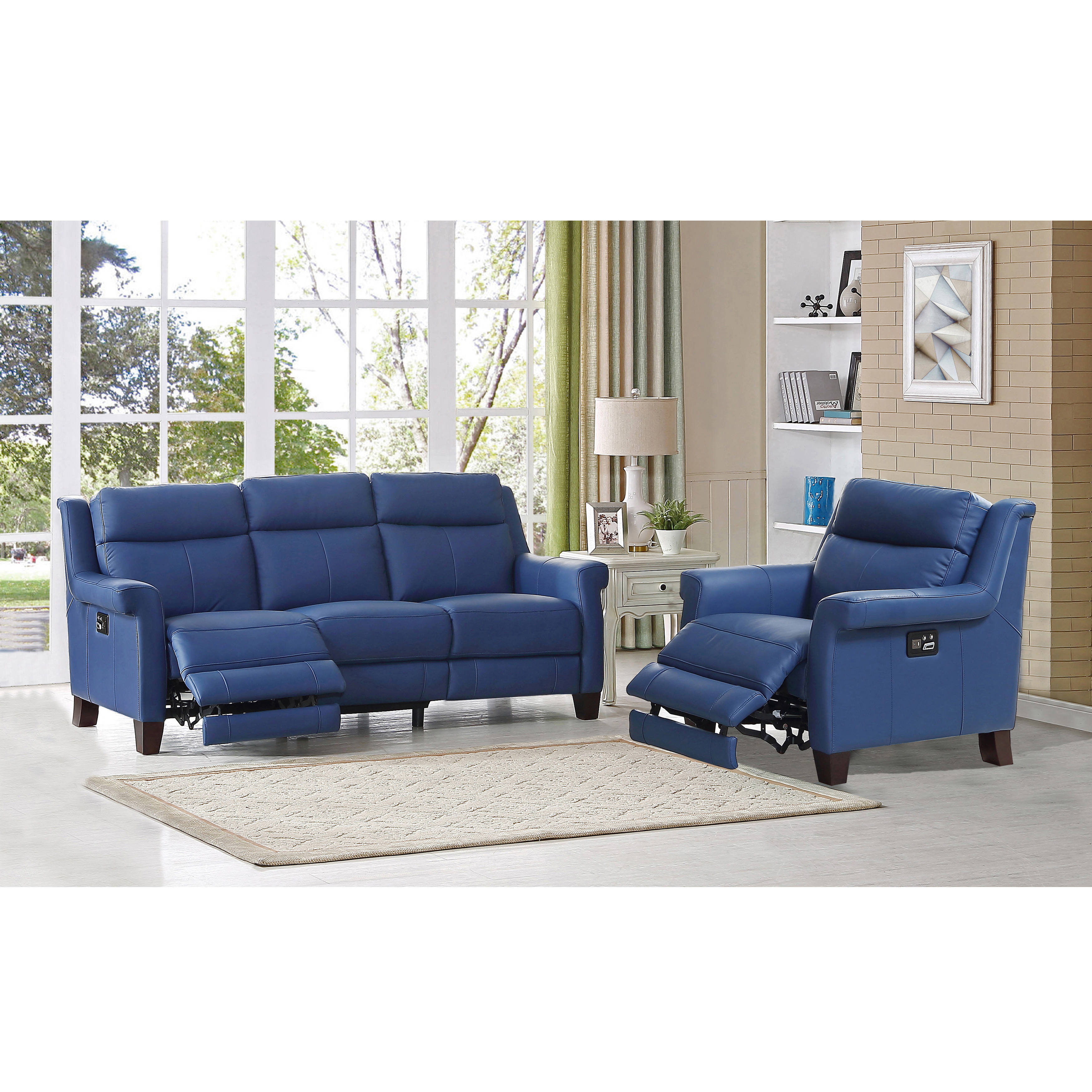 Hydeline Dolce Blue Power Reclining Sofa and Recliner Set ...