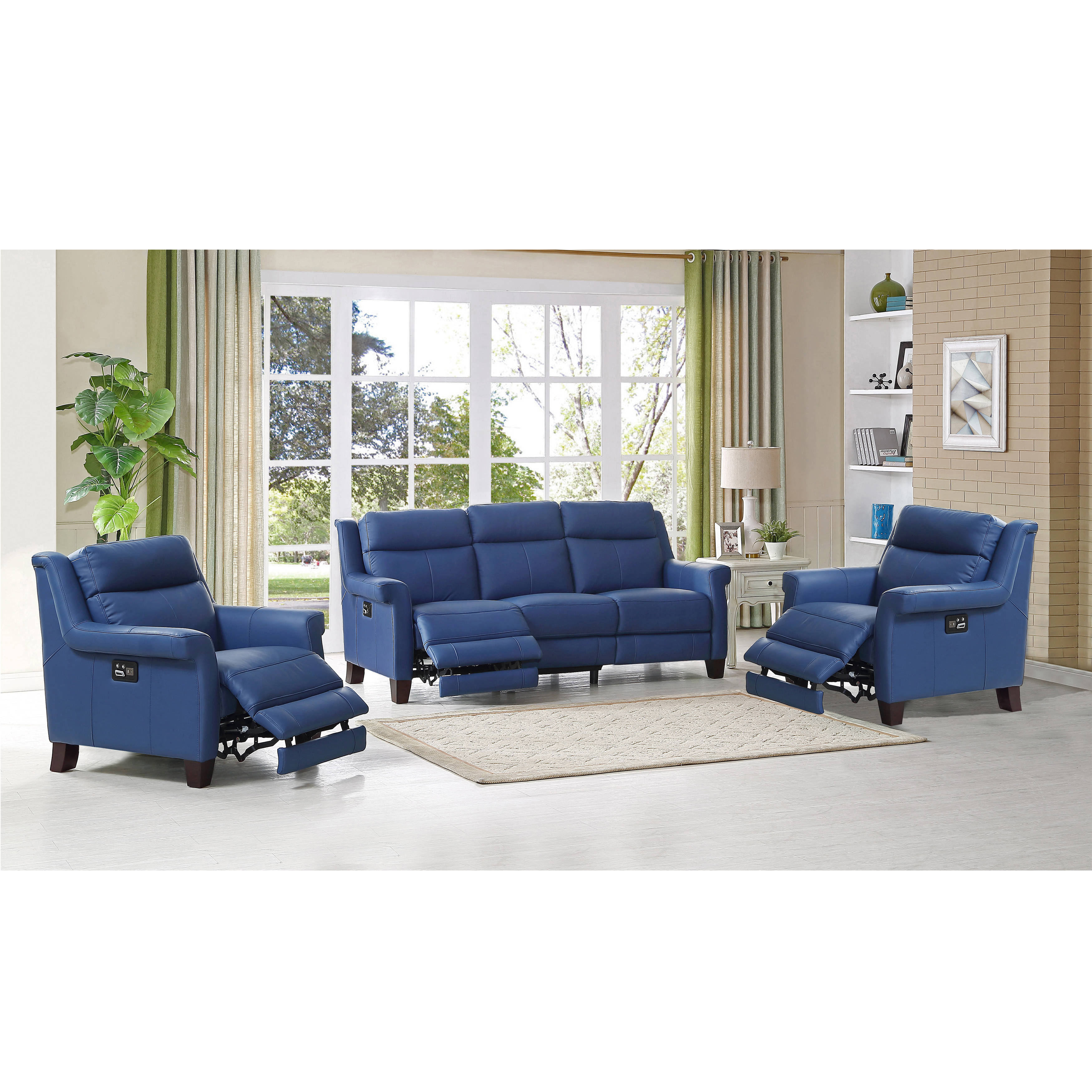 Amax Leather Dolce Blue Power Reclining Sofa and Two Recliners Set ...