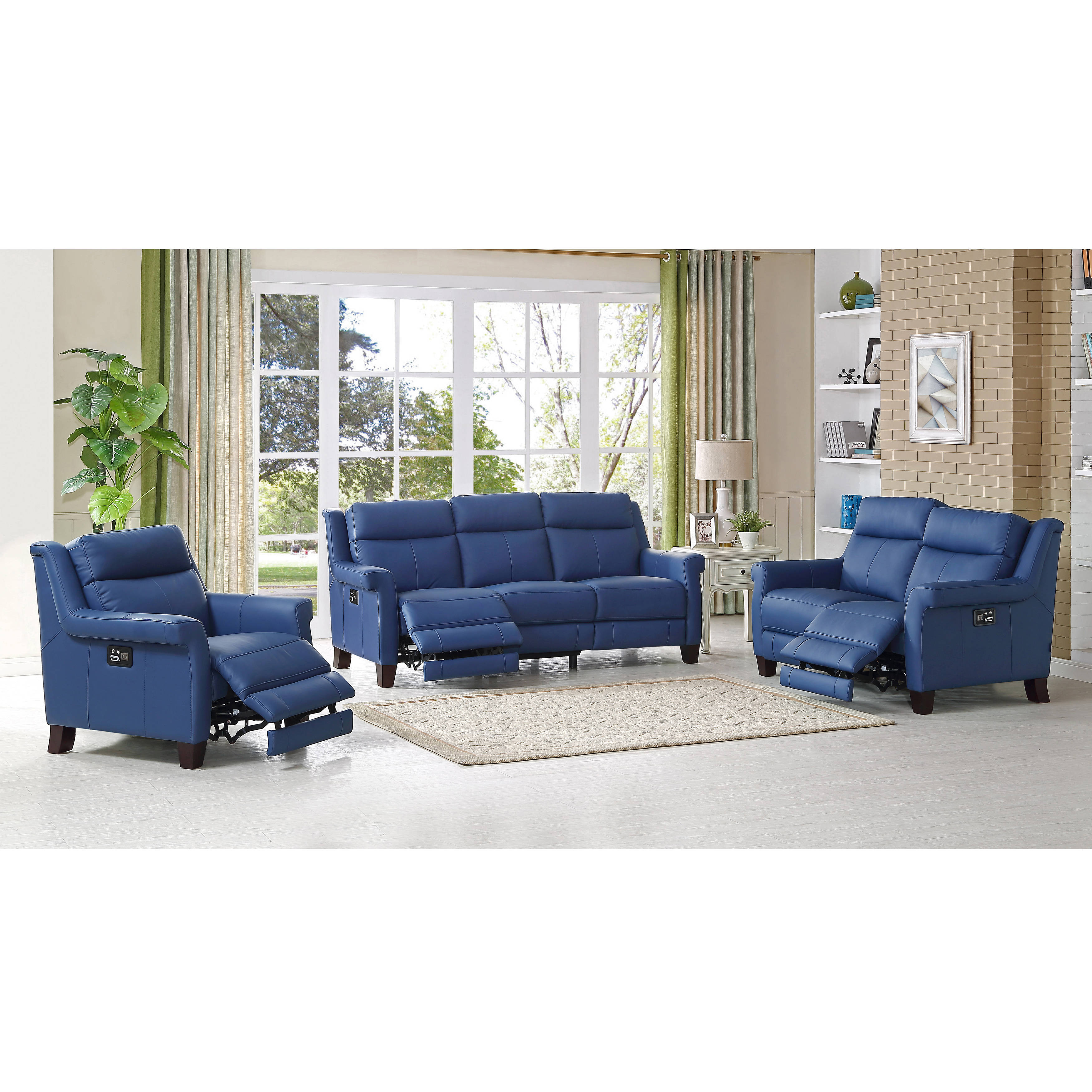 Amax Leather Dolce Blue Power Reclining 3pc Living Room Set | The Classy  Home