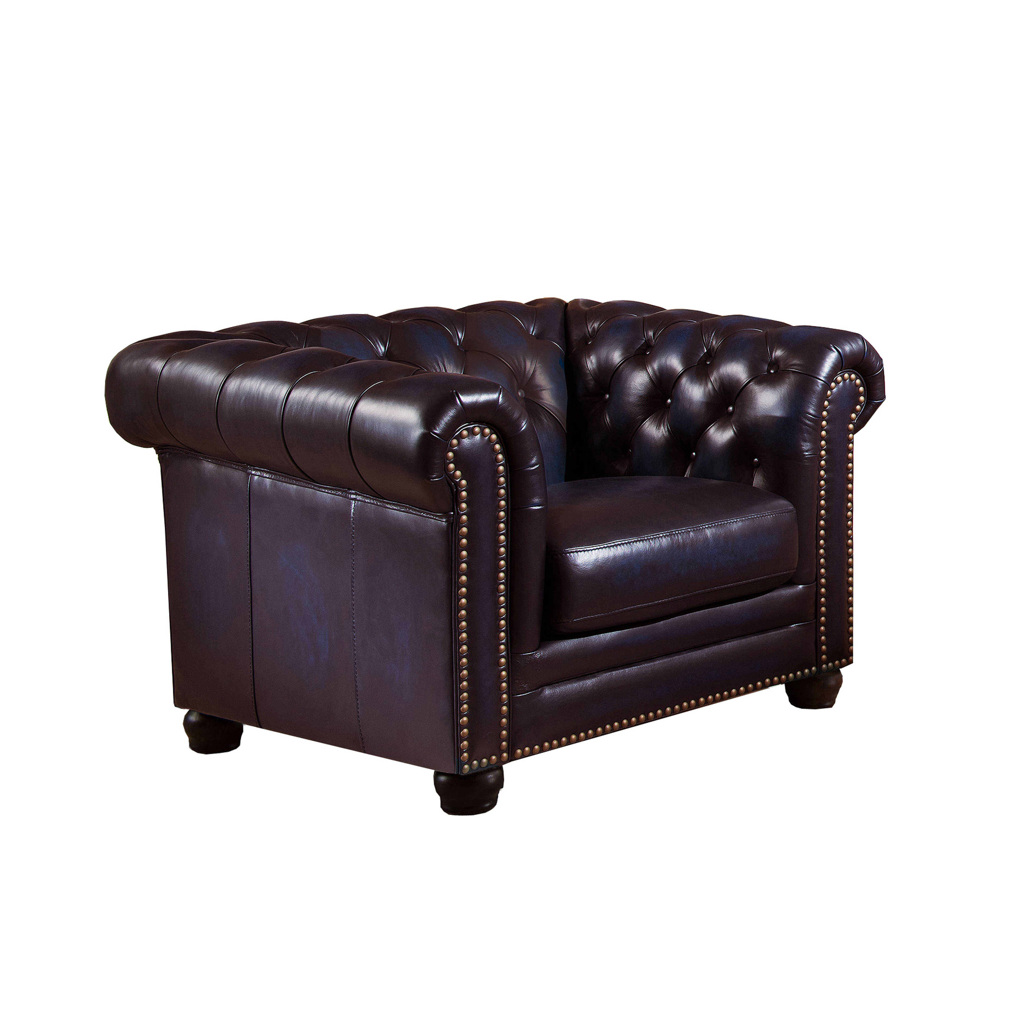 Amax leather dynasty navy blue armchair the classy home