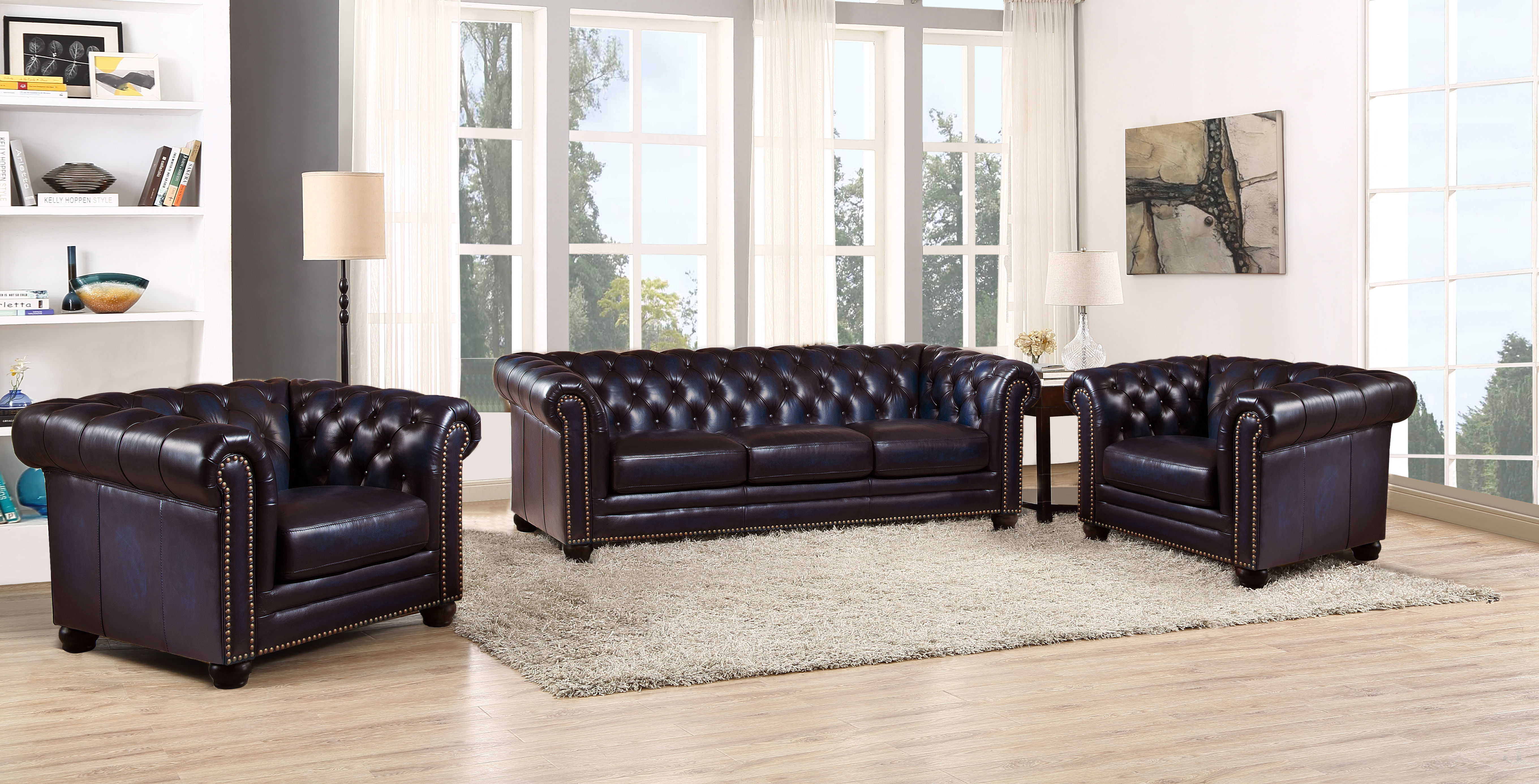 Stupendous Hydeline Dynasty Navy Blue Sofa And Two Chair Set Pabps2019 Chair Design Images Pabps2019Com