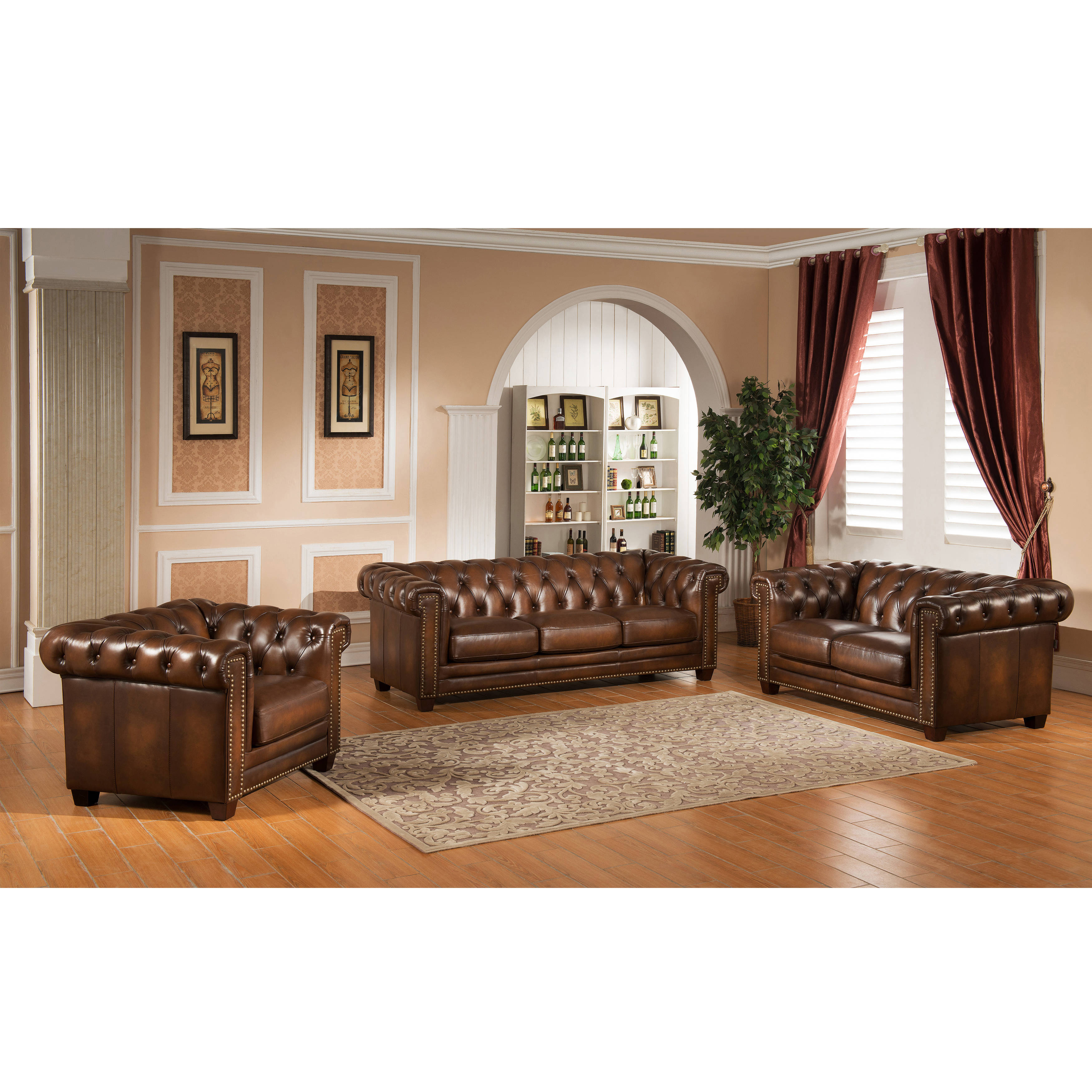 Amax Leather Stanley Park II Brown 3pc Living Room Set | The Classy Home