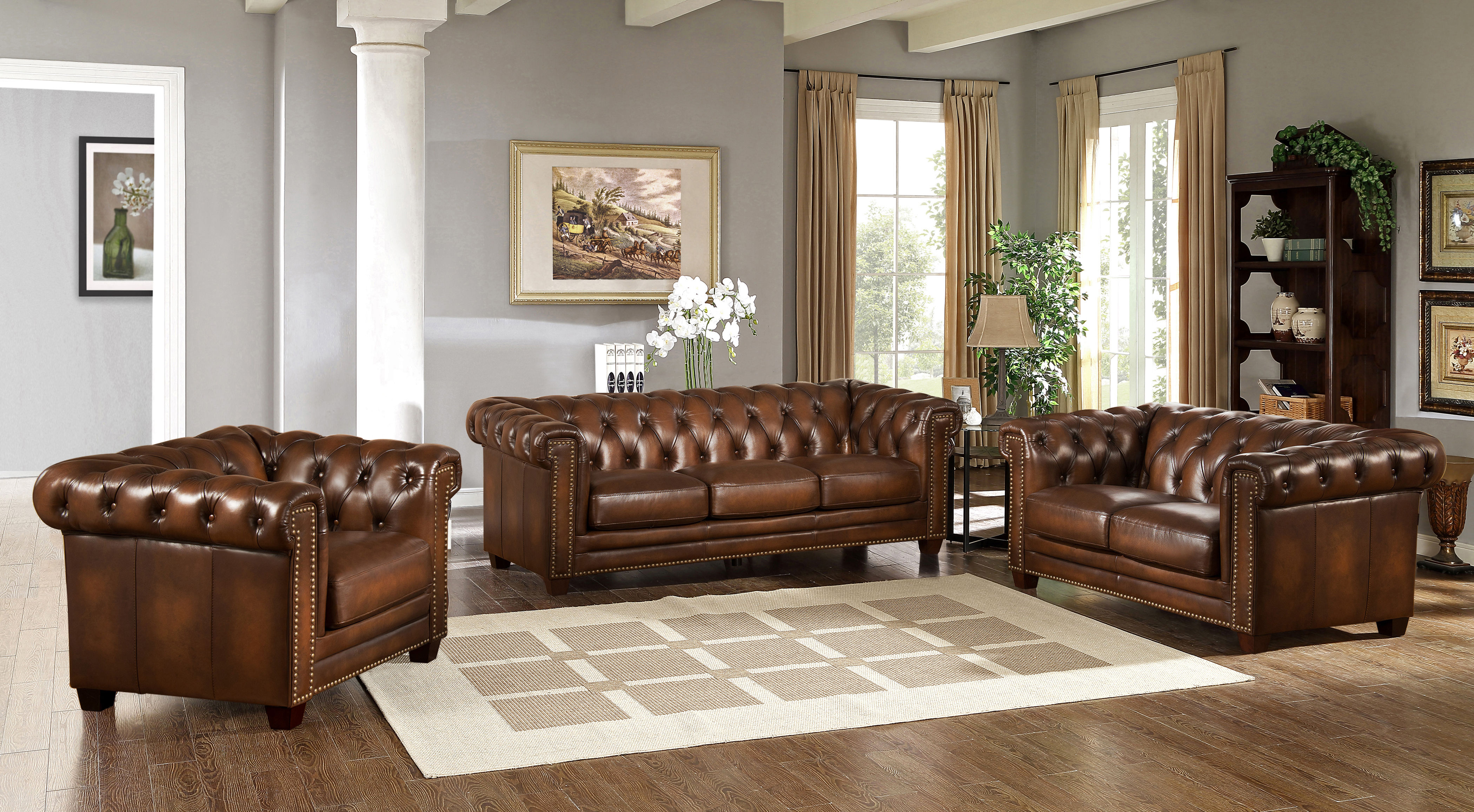 Hydeline Stanley Park Ii Brown 3pc Living Room Set Click To Enlarge