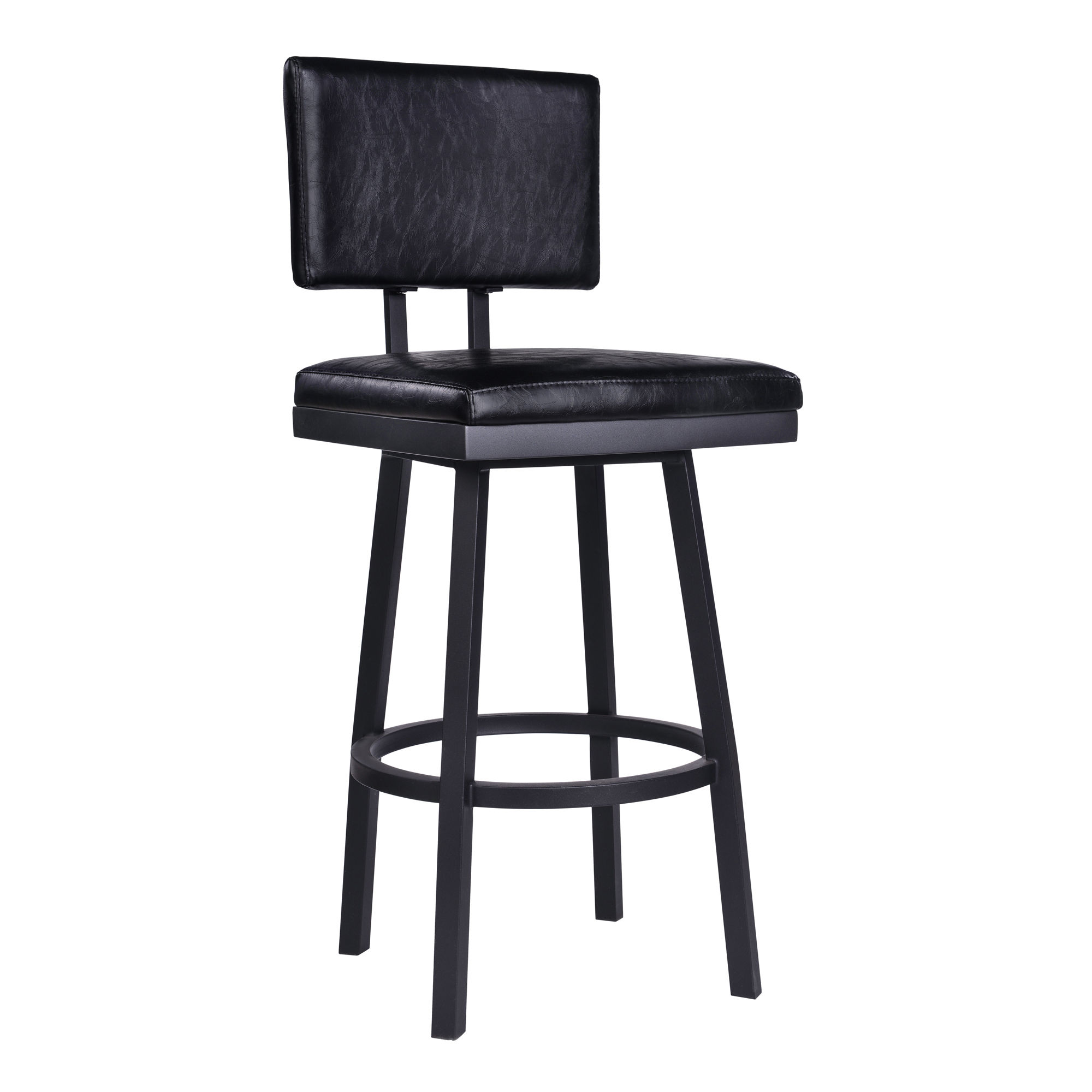 Astounding Armen Living Balboa Vintage Black Faux Leather 30 Inch Bar Height Barstool Pabps2019 Chair Design Images Pabps2019Com