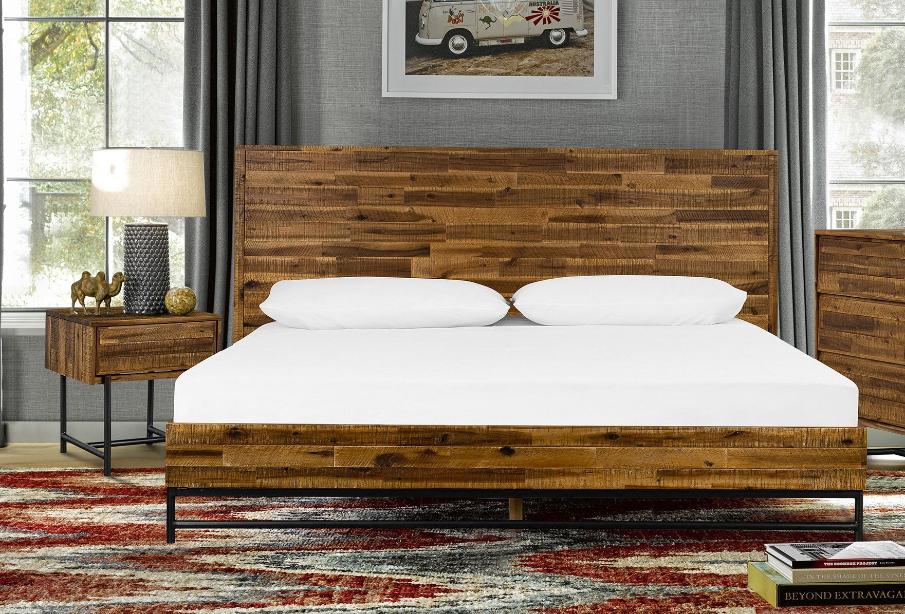 Armen Living Cusco Antique Acacia Wood 2pc Bedroom Set With King