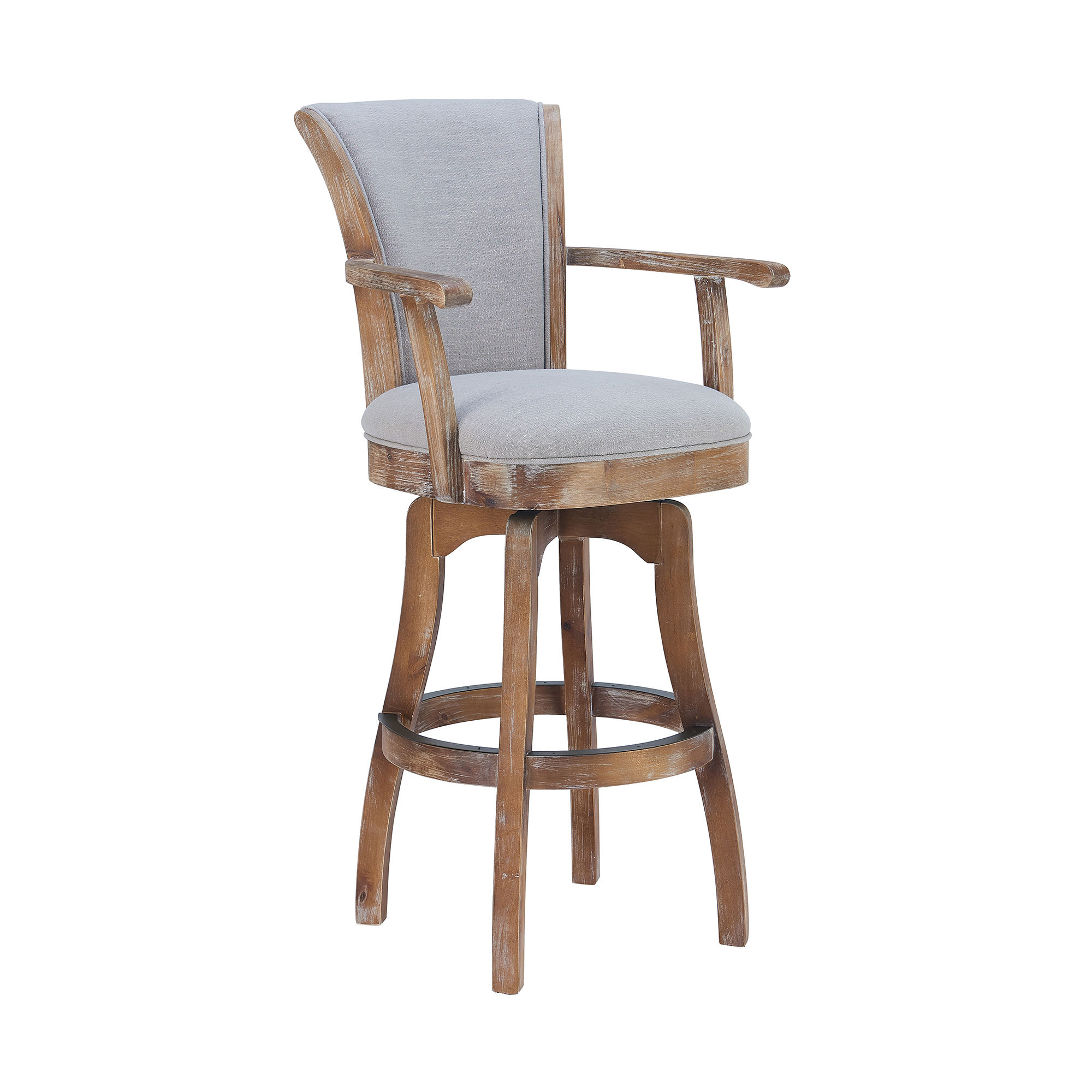 Armen Living Raleigh Putty Ivory 26 Inch Swivel Counter Height Arm Stool
