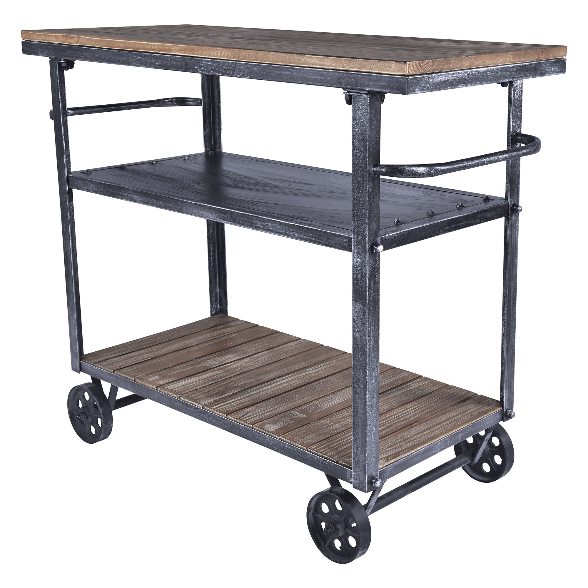 Armen Living Reign Grey Pine Industrial Kitchen Cart