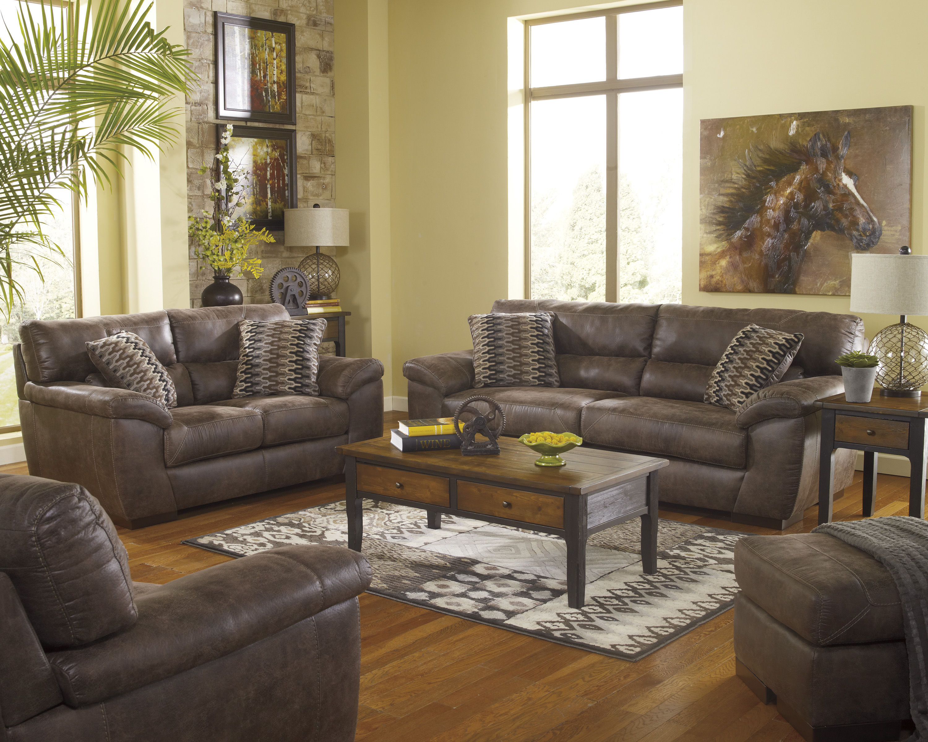 Pikara Gunsmoke Faux Leather Living Room Set The Classy Home