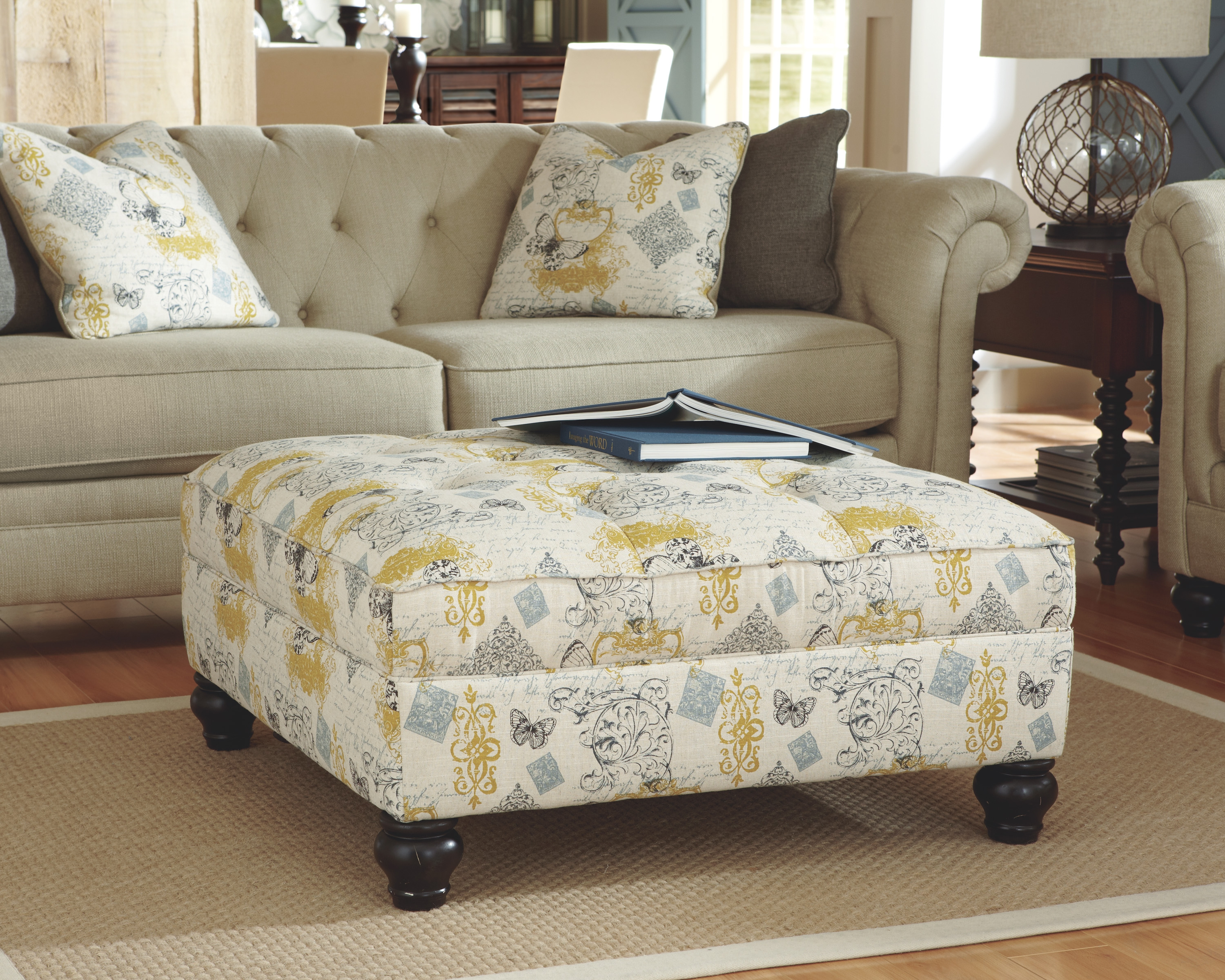 Hindell Park Vintage Casual Putty Oversized Accent Ottoman