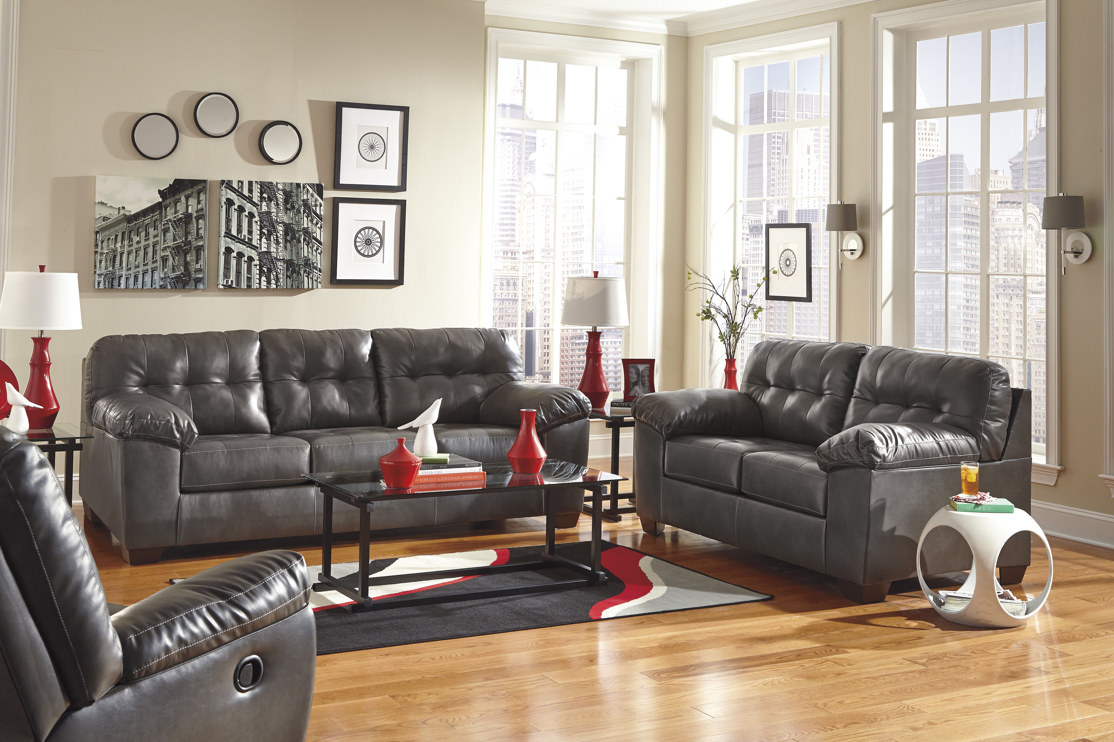 Ashley Furniture Alliston Durablend Gray 3pc Living Room Set Click To  Enlarge ...