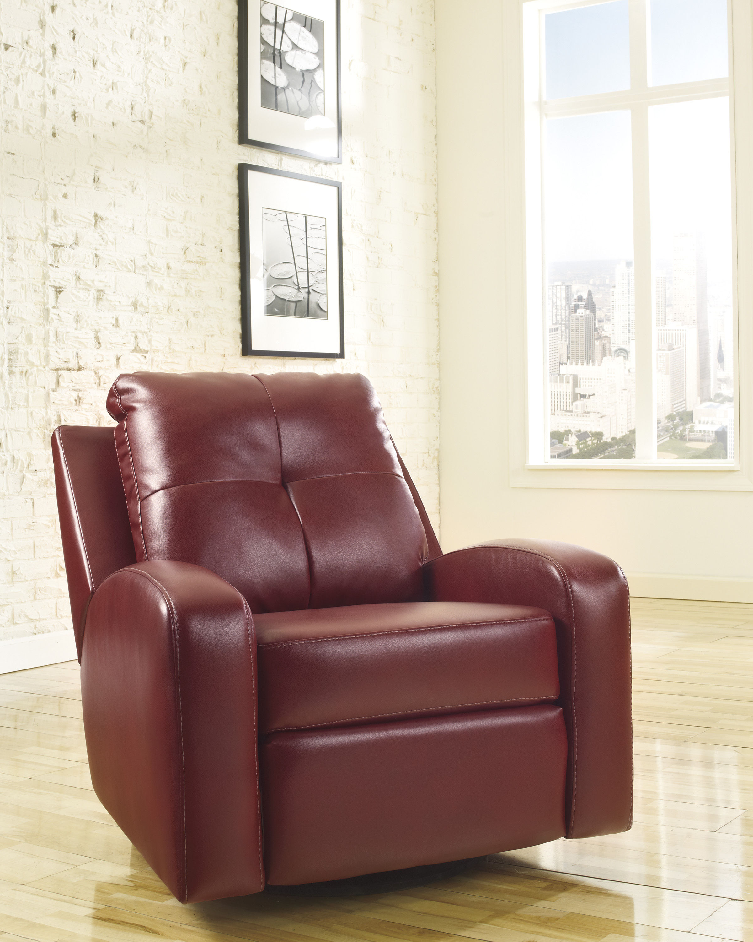 Ashley furniture mannix durablend red swivel glider recliner click to enlarge
