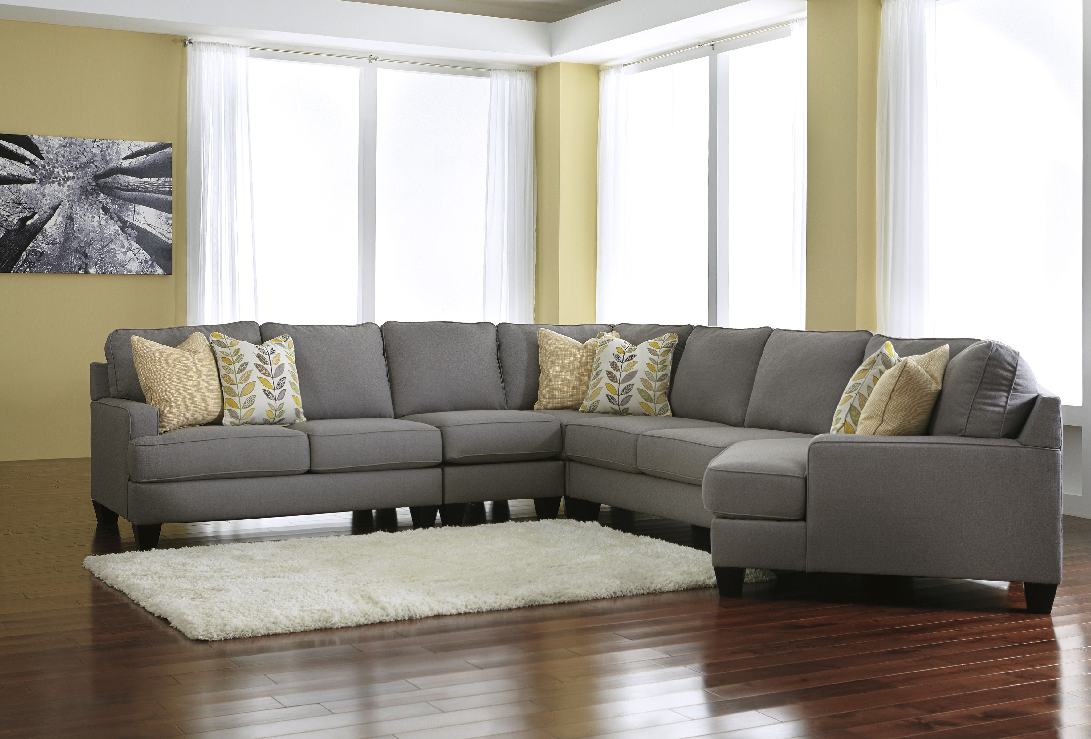 Chamberly Alloy Contemporary Wood Fabric RAF Cuddler 5pc