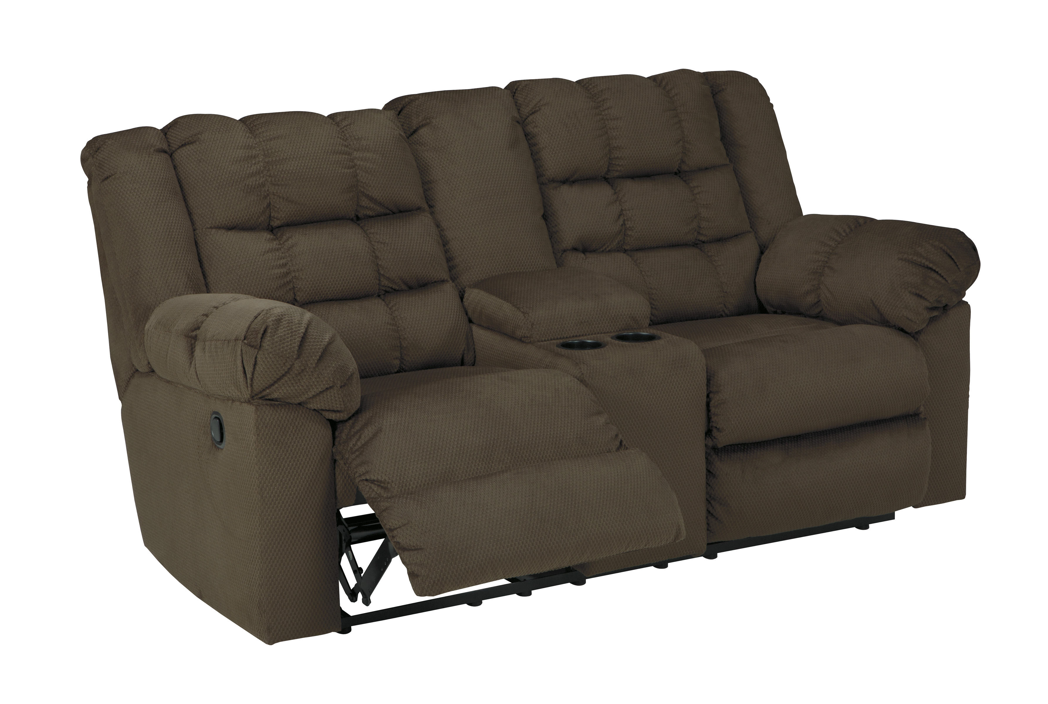 Mort Contemporary Umber Fabric Double Reclining Loveseat W