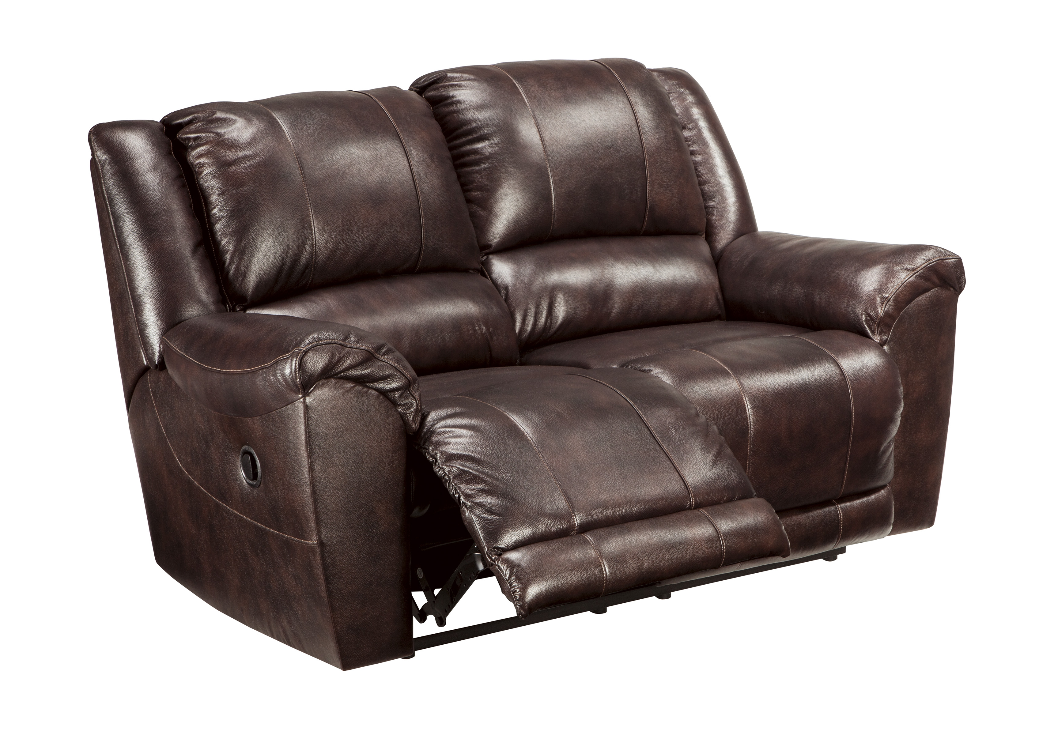 Yancy Contemporary Walnut Grain Leather Vinyl Reclining Loveseat The Classy Home