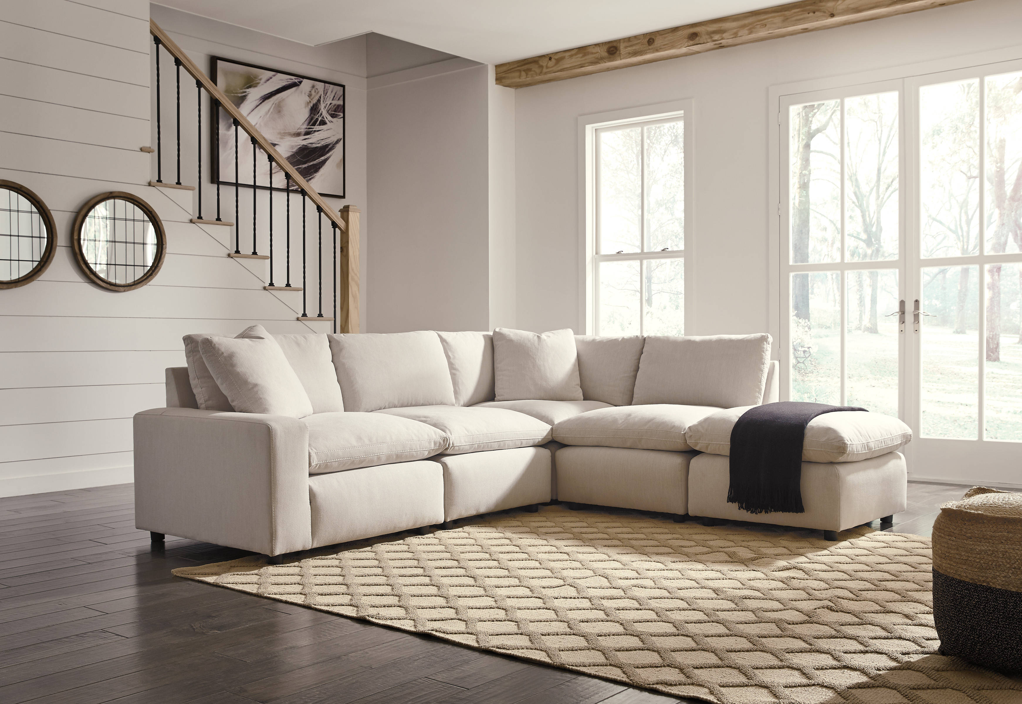 Ashley Furniture Savesto Ivory Sectional With Ottoman