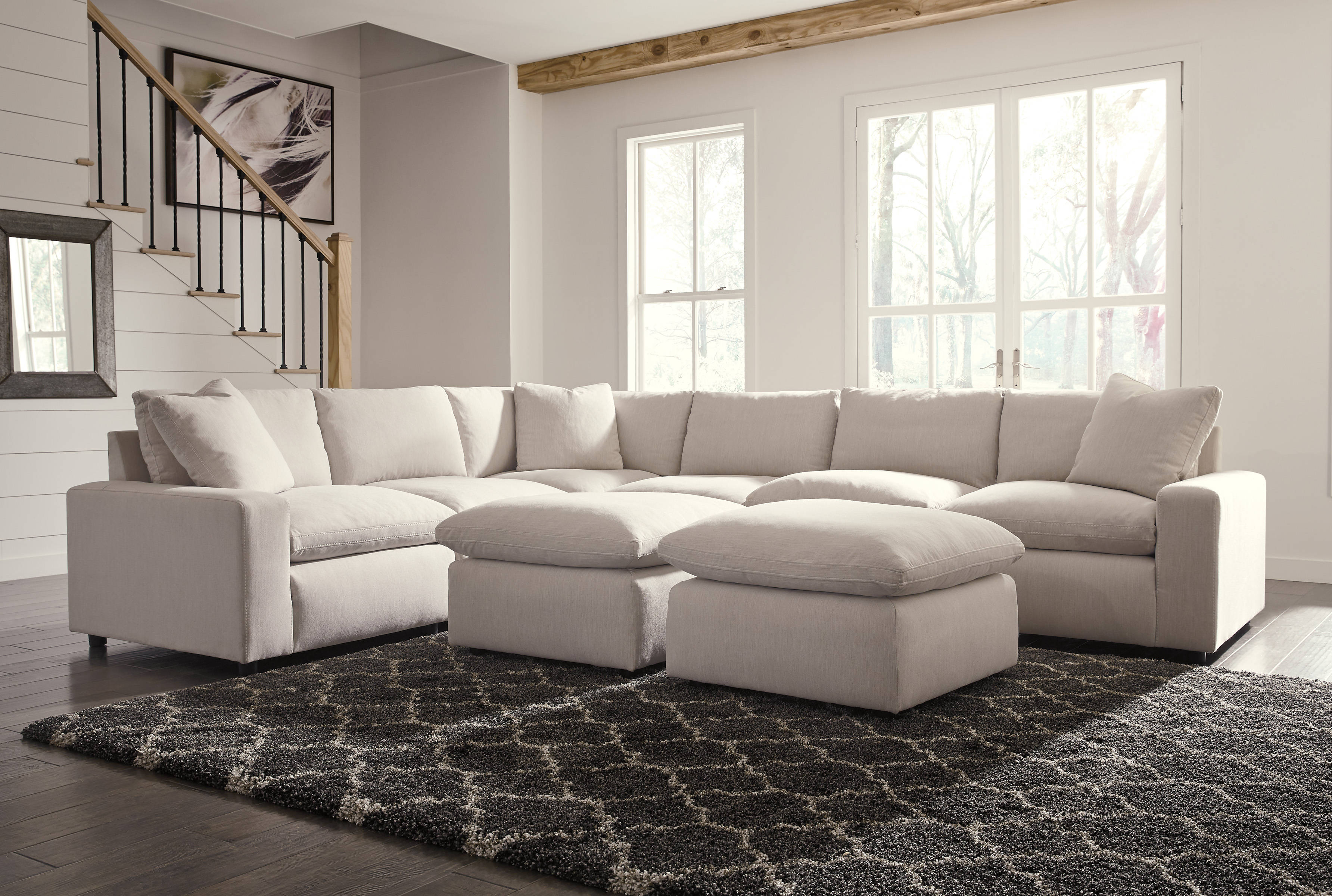 Ashley Furniture Savesto Ivory 8pc Sectional With Ottoman The