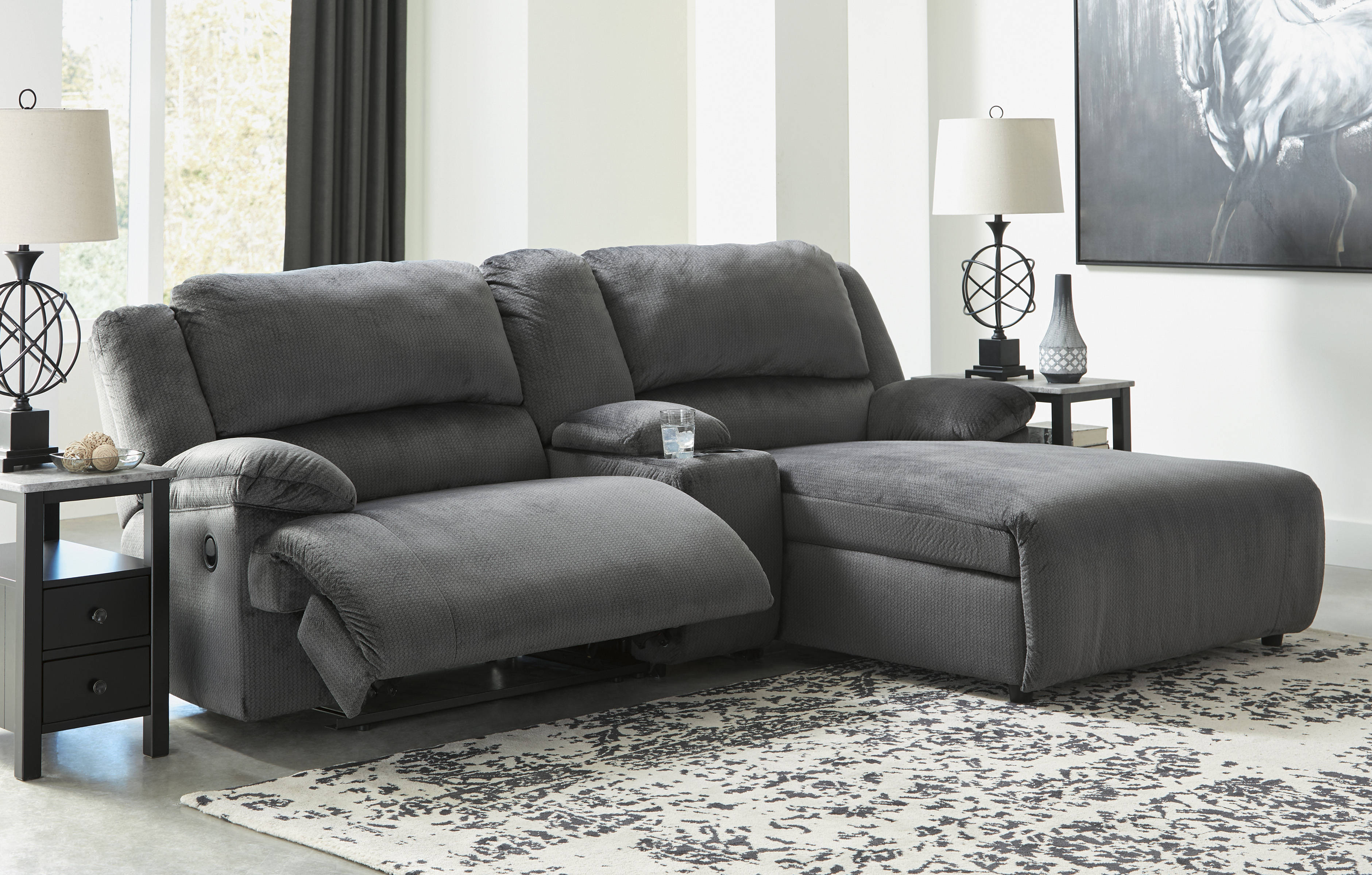 Ashley Furniture Clonmel Charcoal 3pc Raf Sectional With