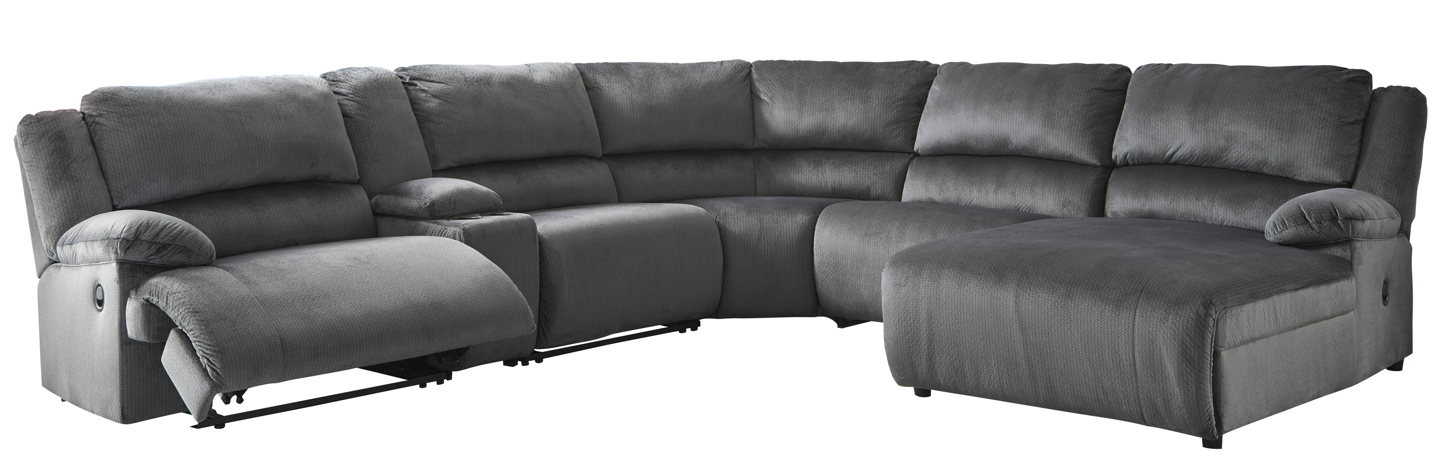 Amazing Ashley Furniture Clonmel Charcoal 6Pc Raf Sectional Gamerscity Chair Design For Home Gamerscityorg