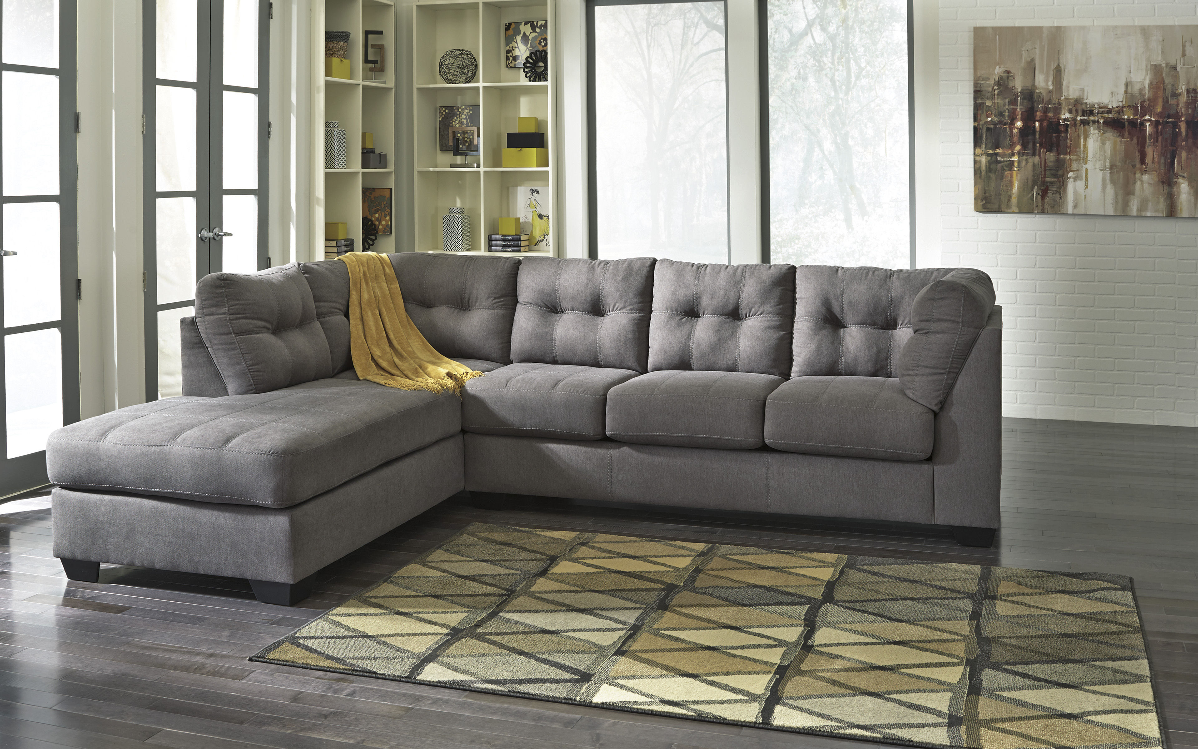 maier charcoal fabric sectional wlaf chaise