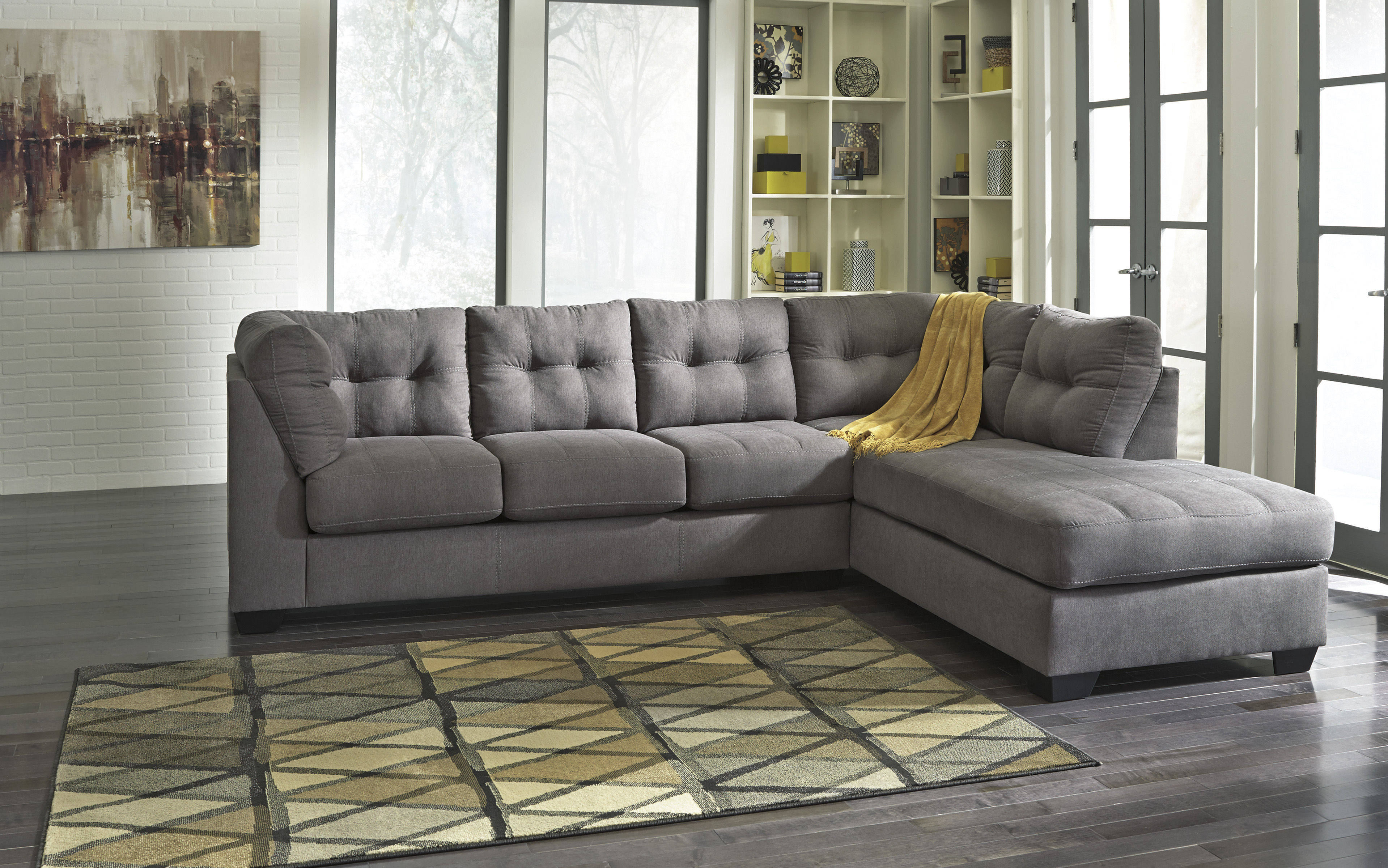 Maier Contemporary Charcoal Fabric Sectional W RAF Chaise