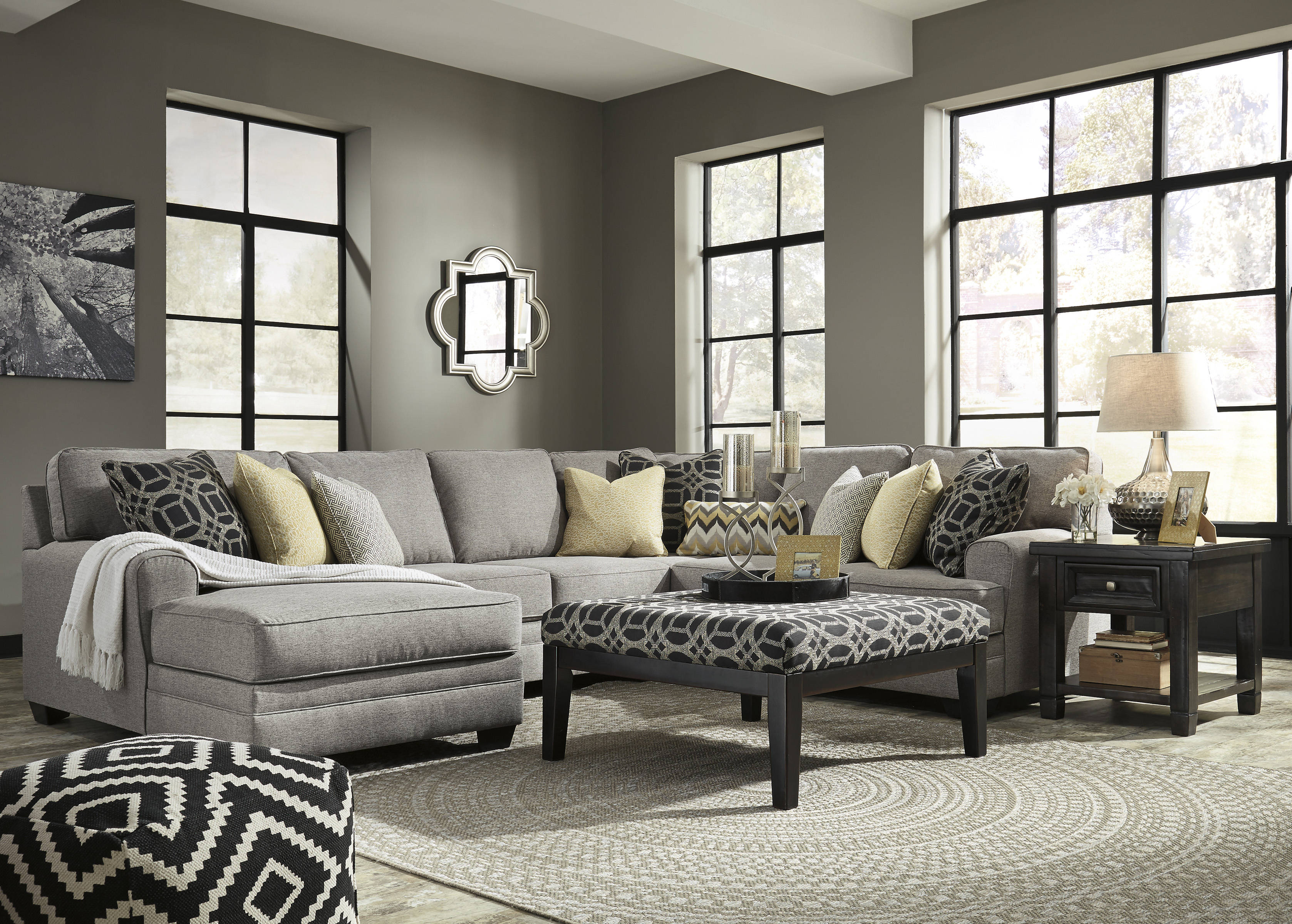 Ashley furniture cresson laf chaise and ottoman sectionals for Ashley sectional sofa with ottoman